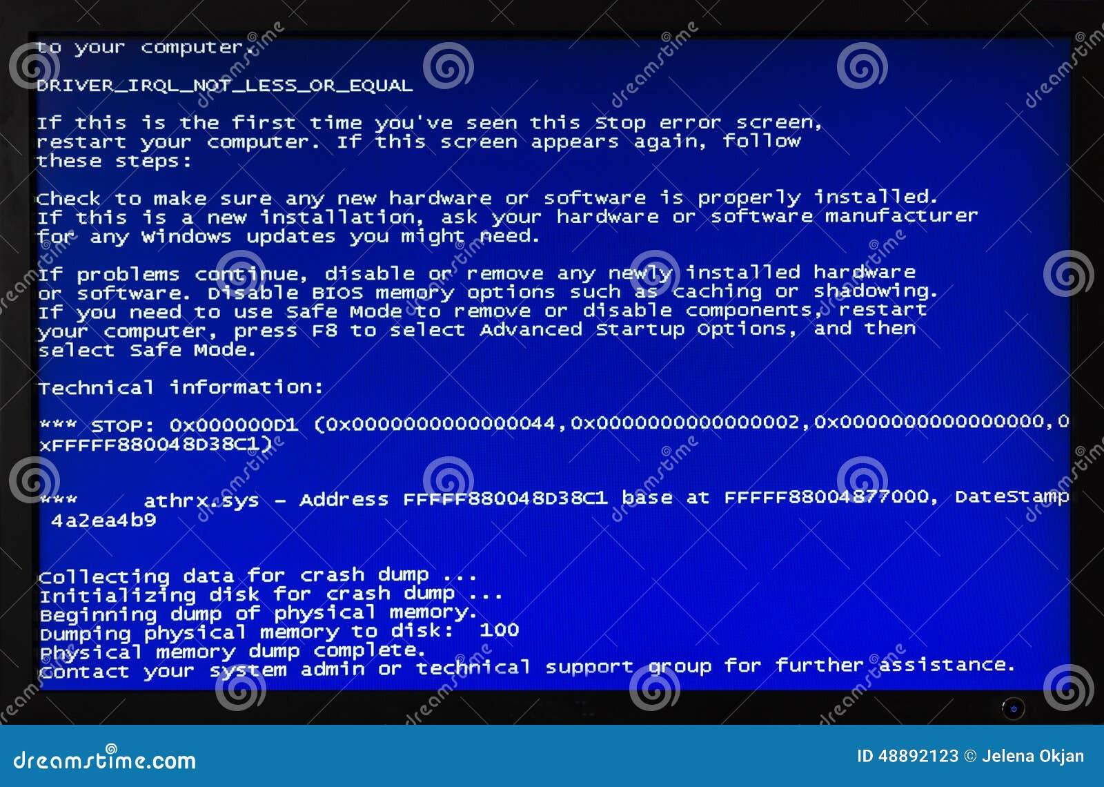 Błękitny ekran komputerowy