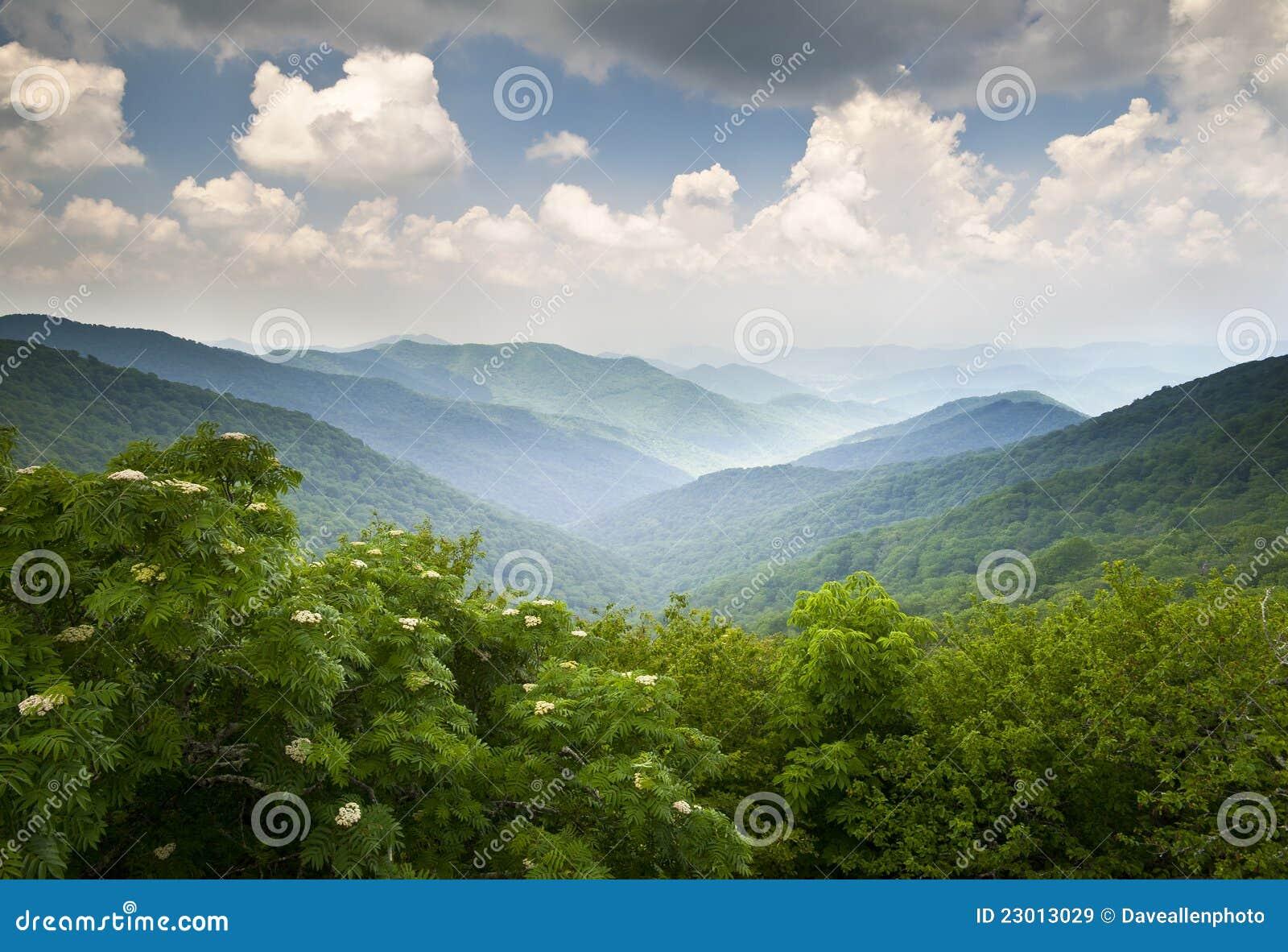 Błękitny góry przegapiają parkway grani scenicznego wnc