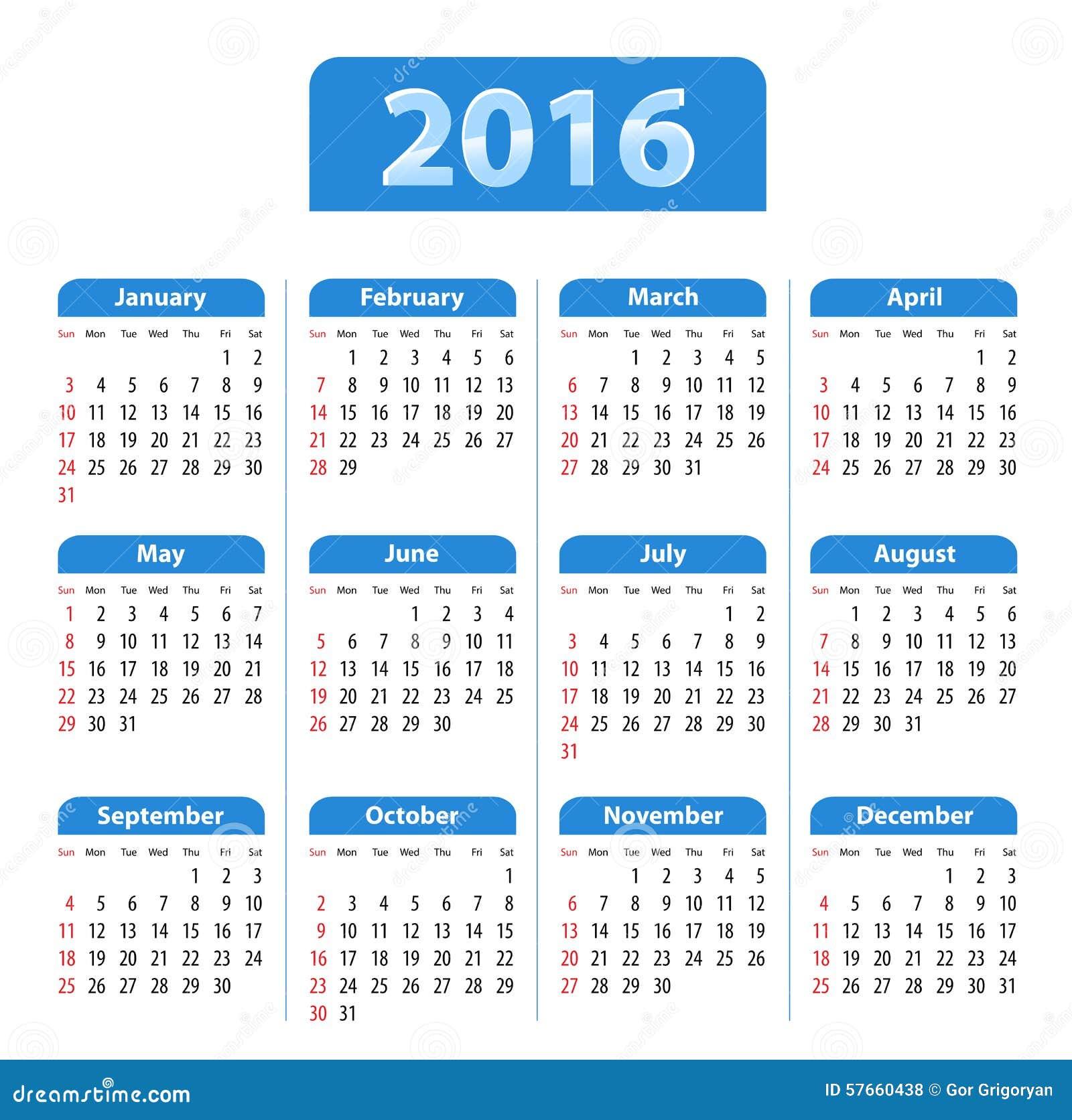 Błękitny glansowany angielszczyzna kalendarz dla 2016