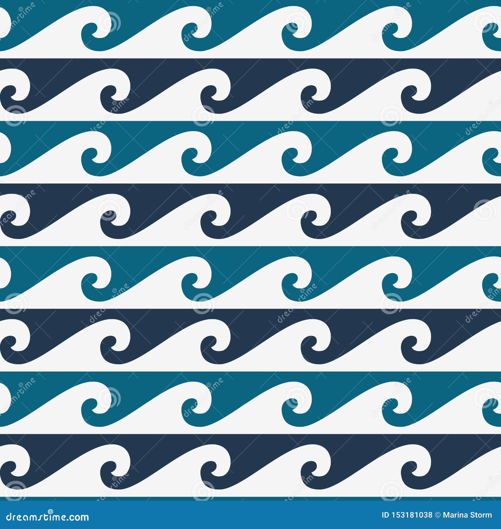 Błękitny i biały bezszwowy falowy wzór, linii fali ornament w maoryjskim tatuażu stylu