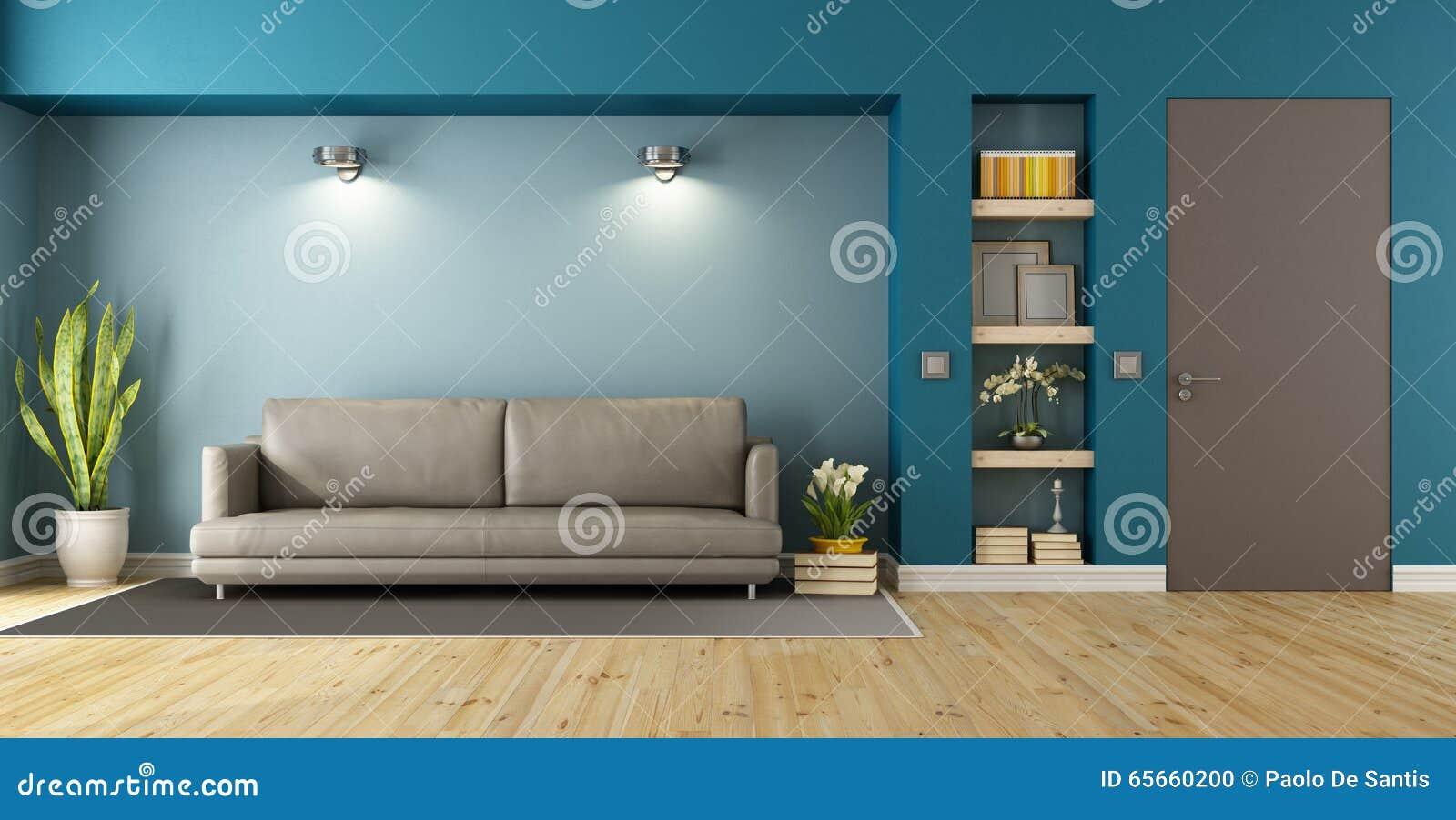 Błękitny i brown nowożytny pokój dzienny