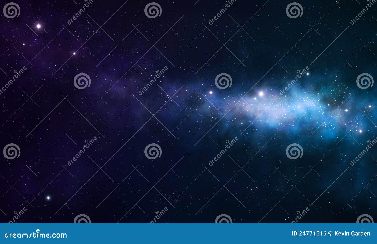 Błękitny i purpurowa mgławica