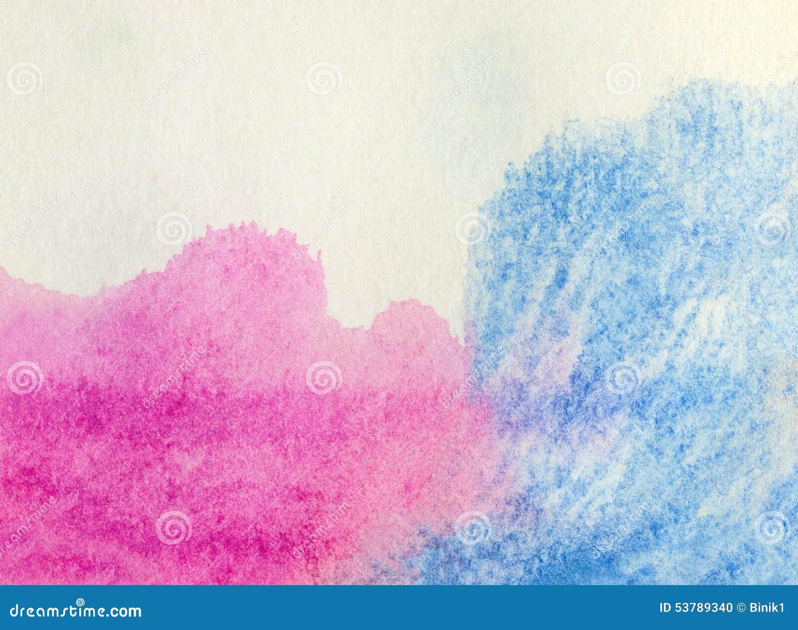 Błękitny i różowy akwareli tło