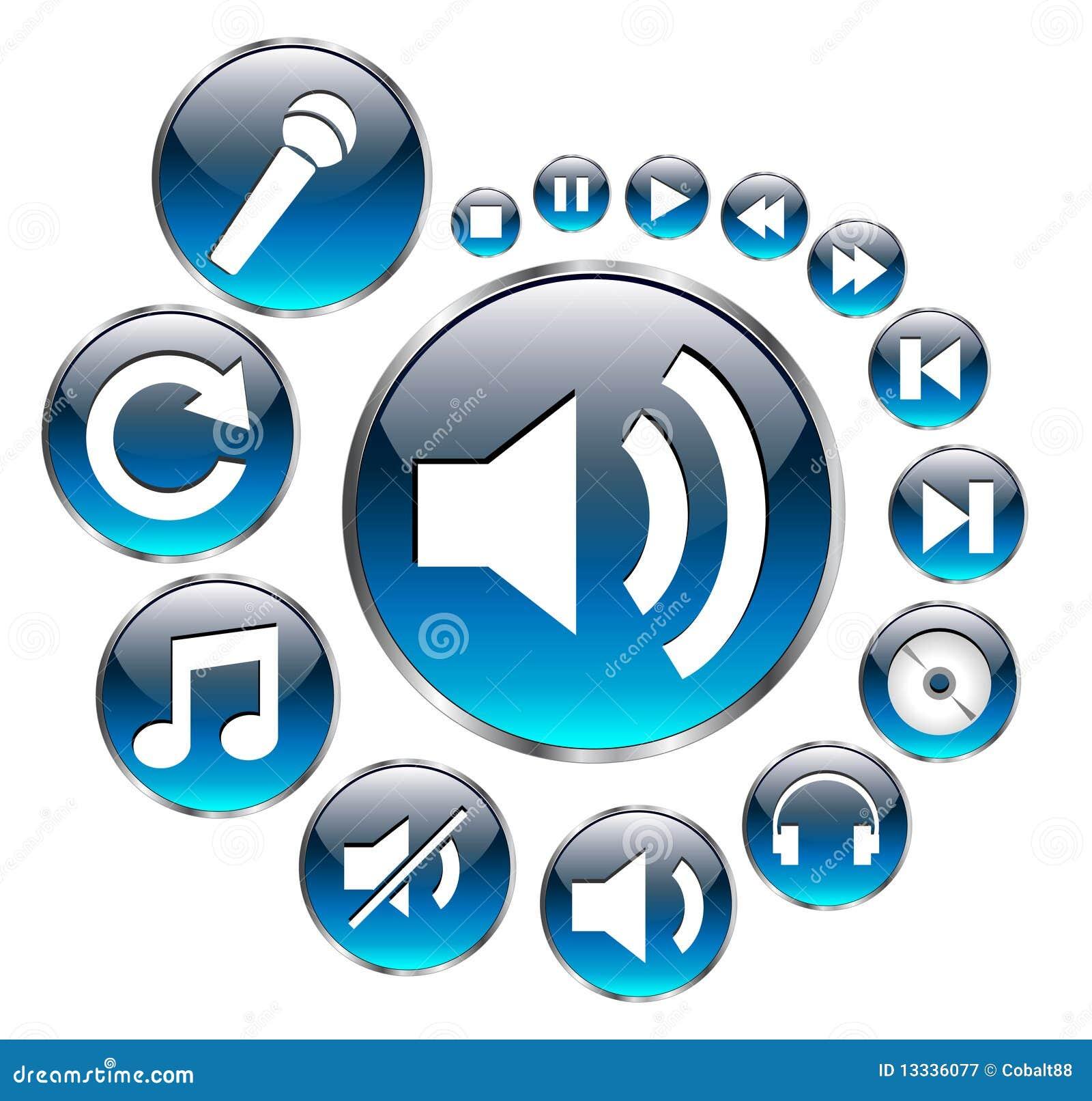 Błękitny ikon muzyki set