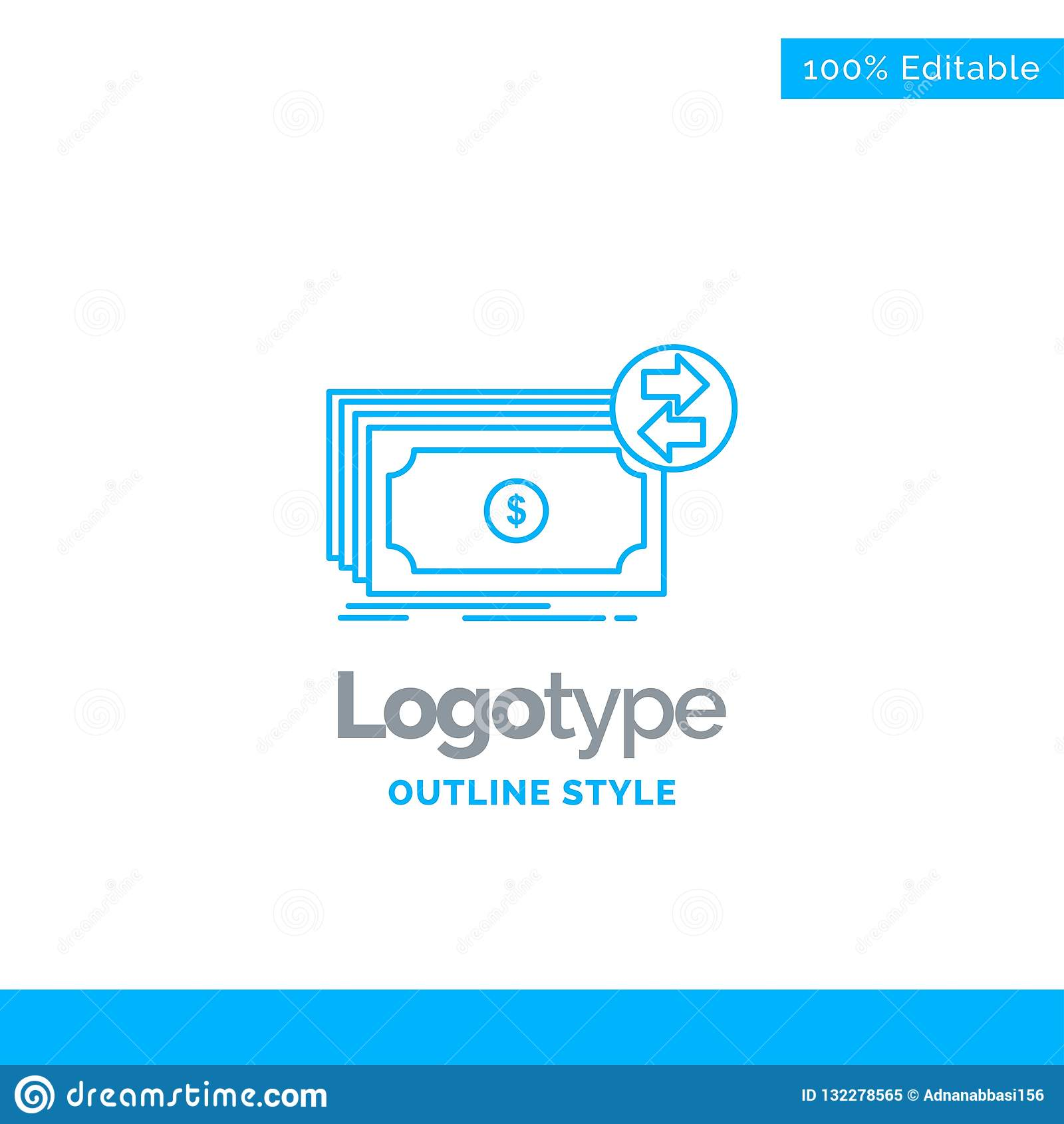 Błękitny logo projekt dla banknotów, gotówka, dolary, przepływ, pieniądze Busi