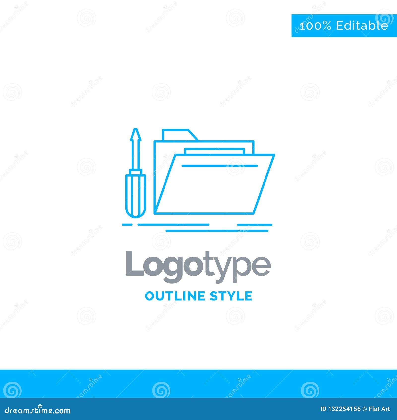 Błękitny logo projekt dla falcówki, narzędzie, naprawa, zasoby, usługa Bu