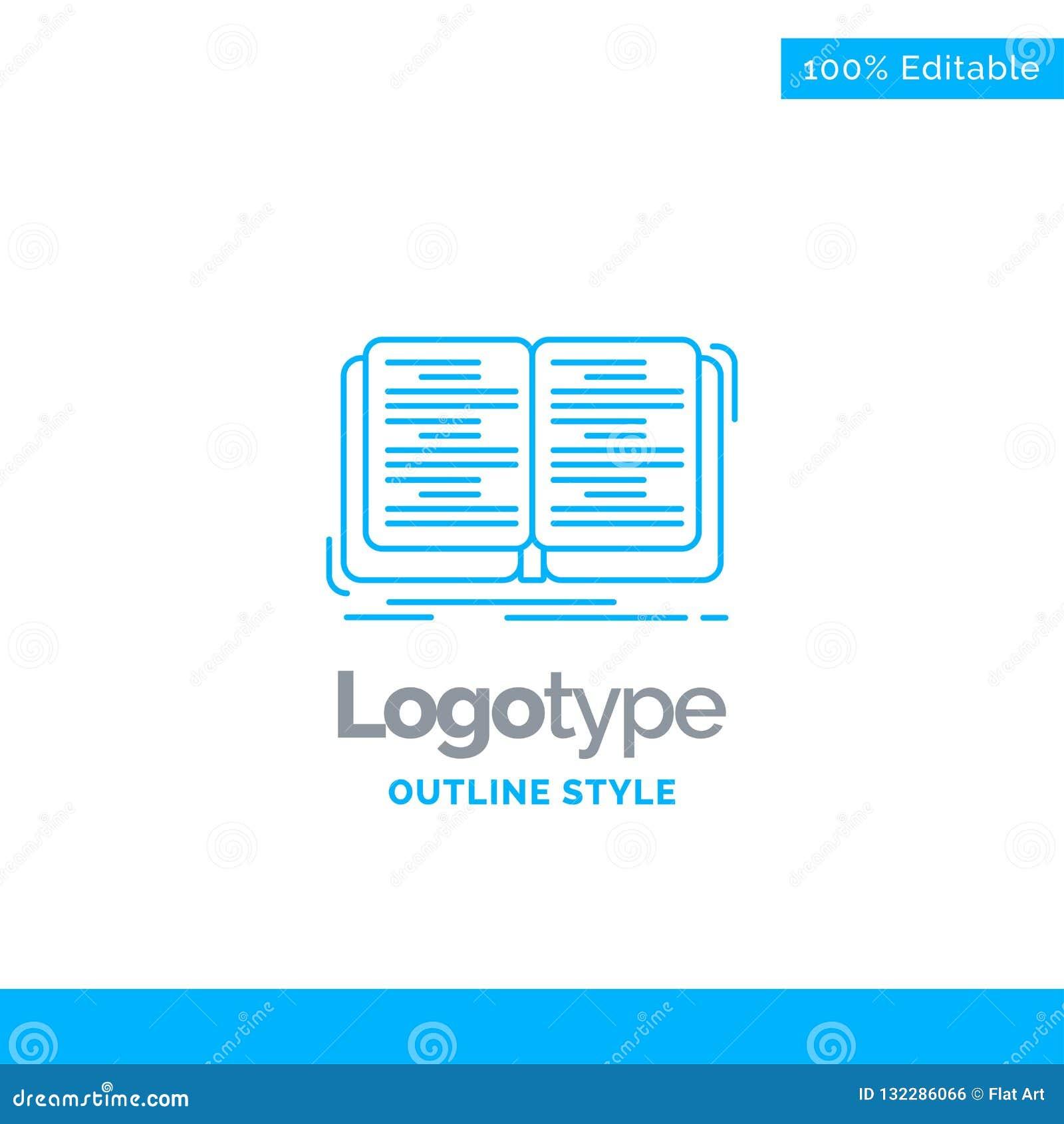 Błękitny logo projekt dla książki, edukacja, lekcja, nauka Biznes co