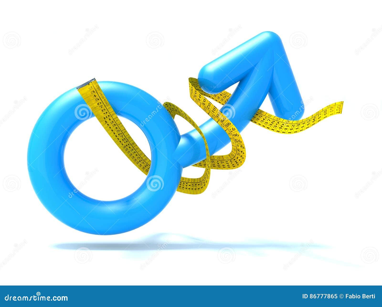 Błękitny mężczyzna symbol z taśmy miarą,