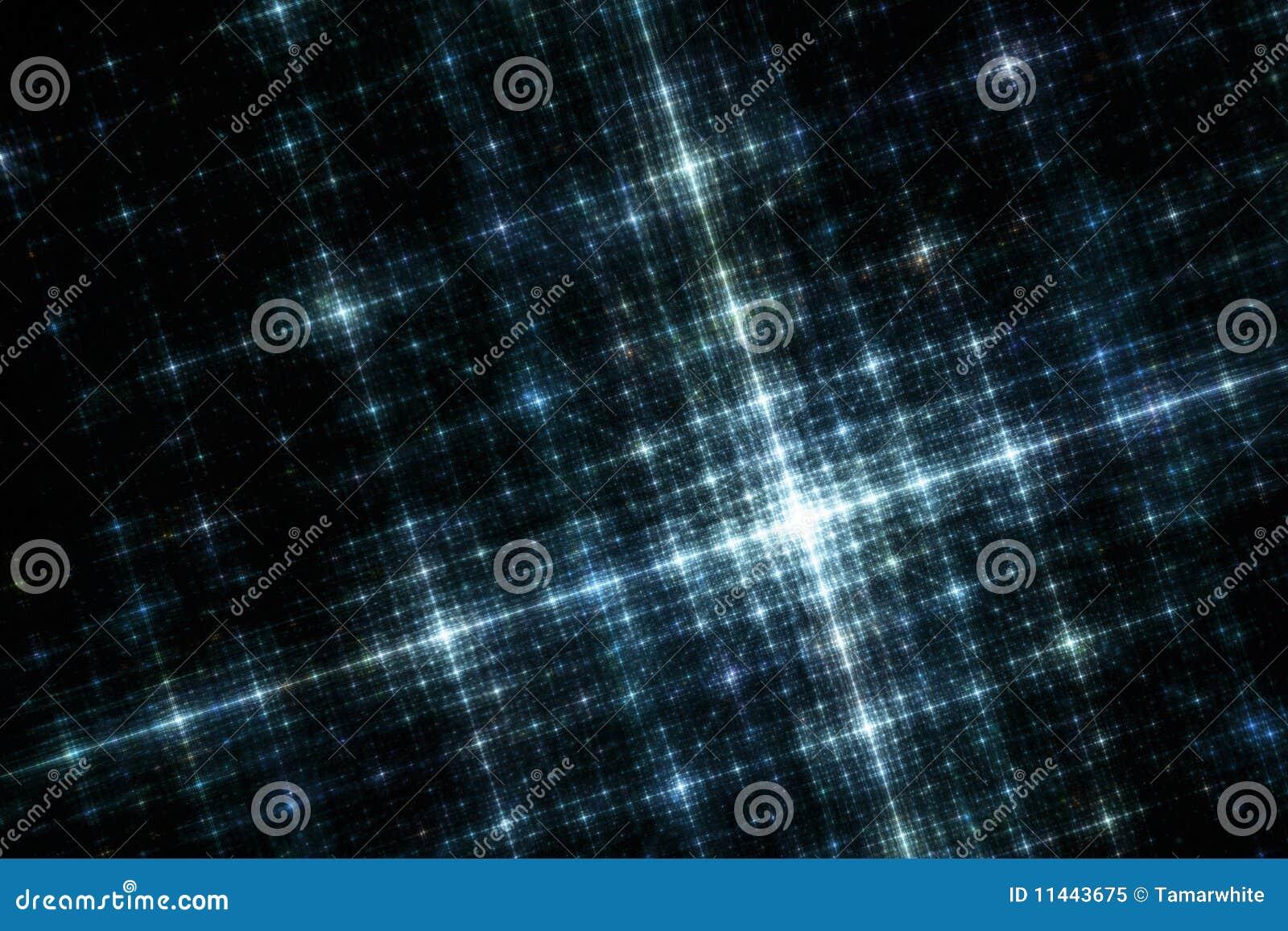 Błękitny miasta fractal siatki wizerunek zaświeca noc