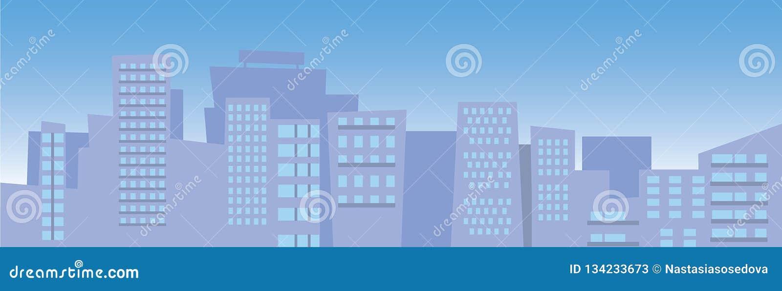 Błękitny miasta nieba linia horyzontu