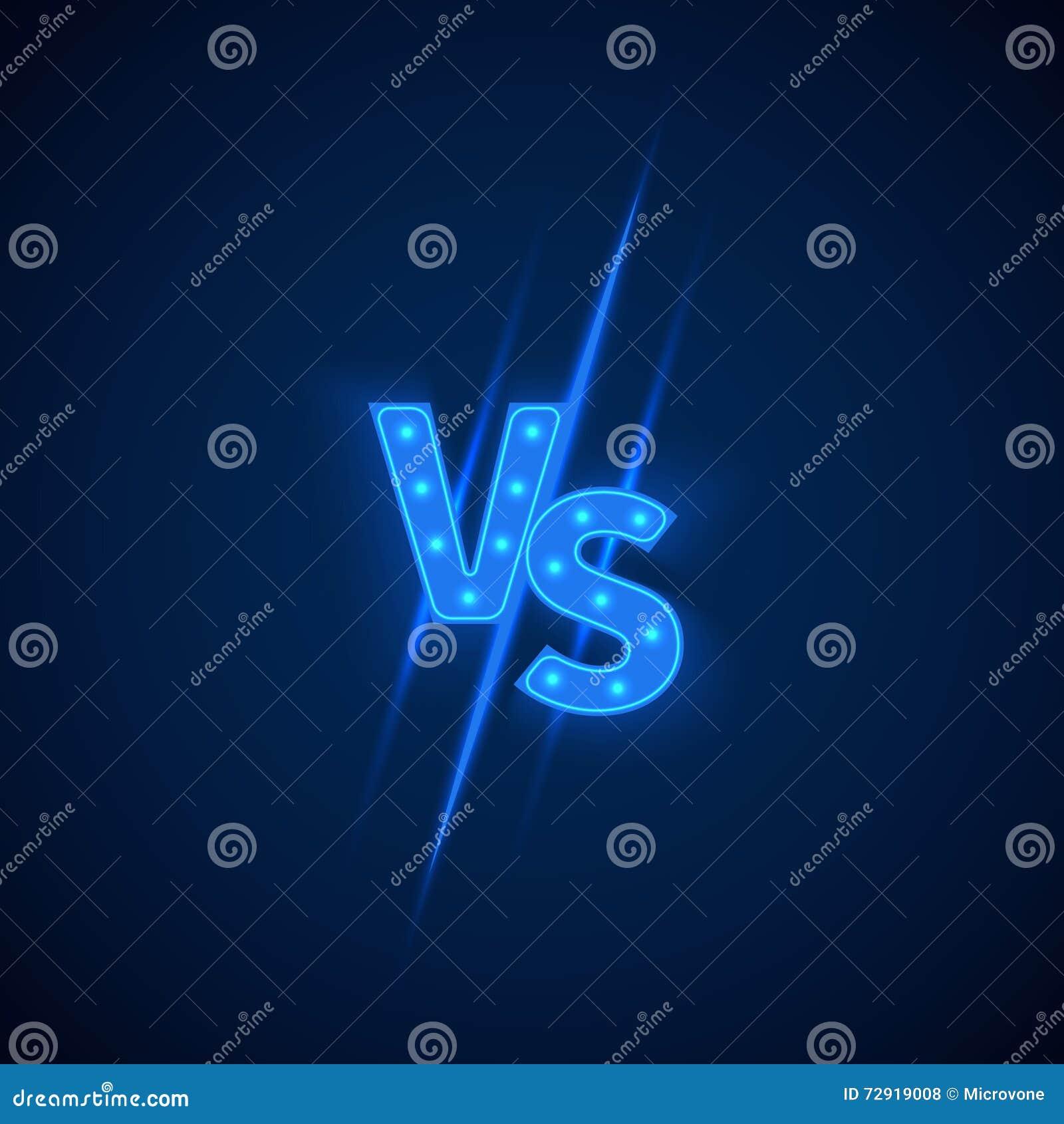 Błękitny neonowy versus logo vs listy dla sportów i walki rywalizaci koloru płomienia ustalonego symbolu wektor