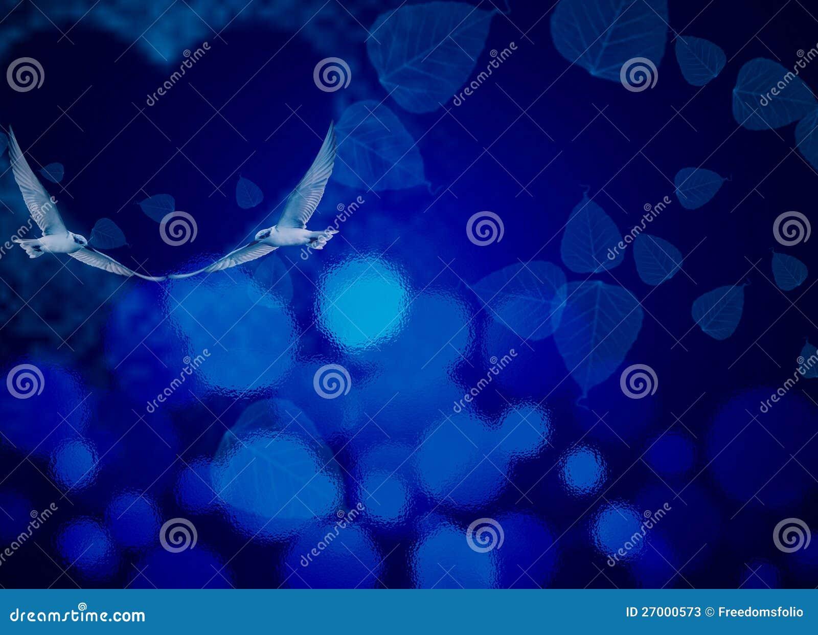 Błękitny Noc Miłości Temat Z Miłości Ptakami Ilustracji