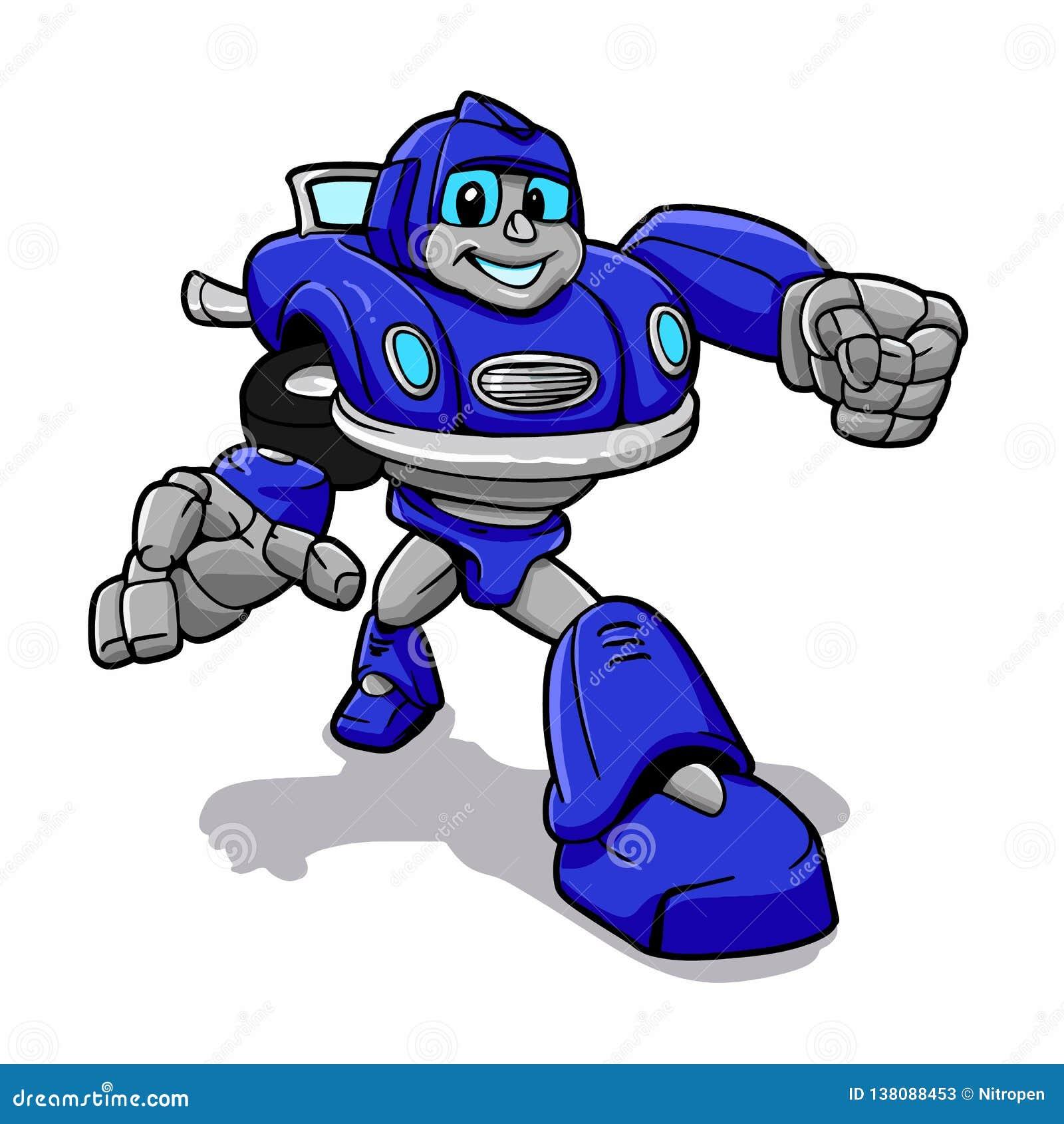 Błękitny robot robot kreskówka - roboty dla dzieciaków -