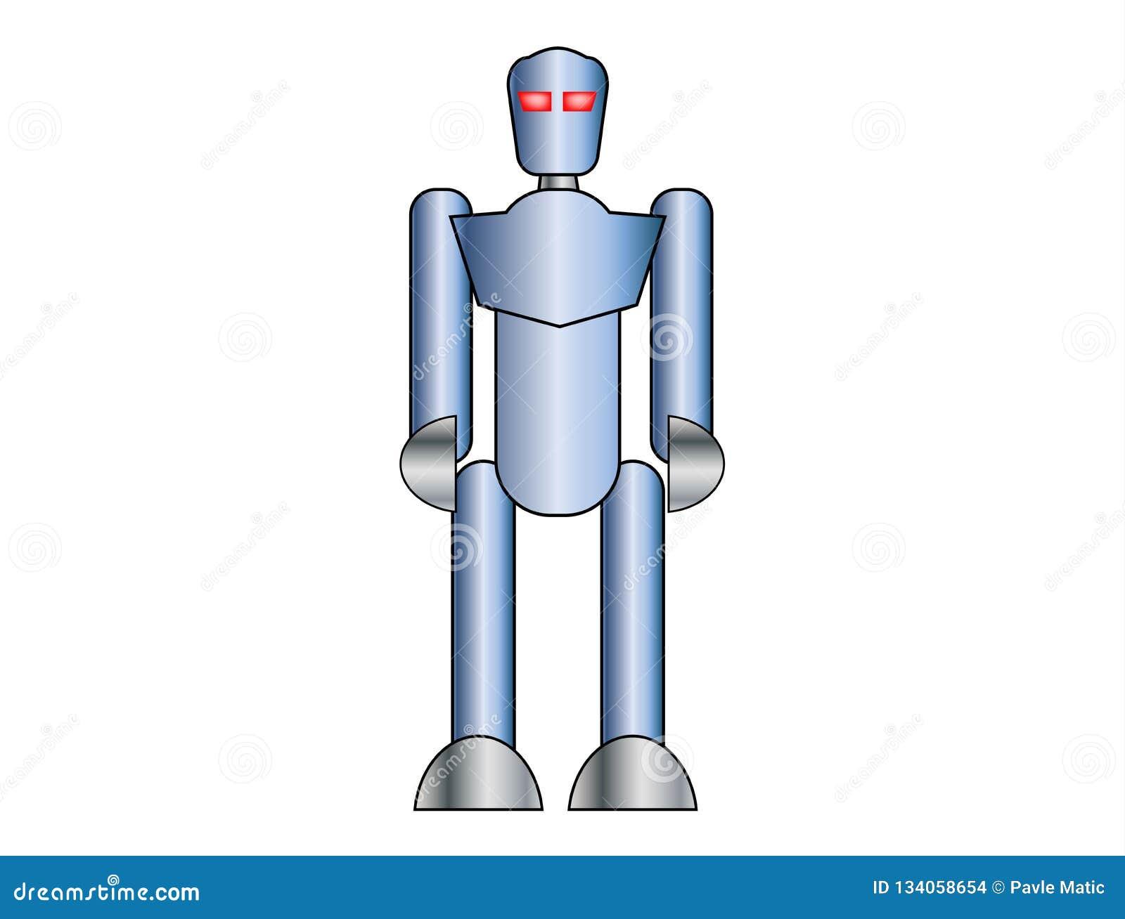Błękitny robot na białym tle