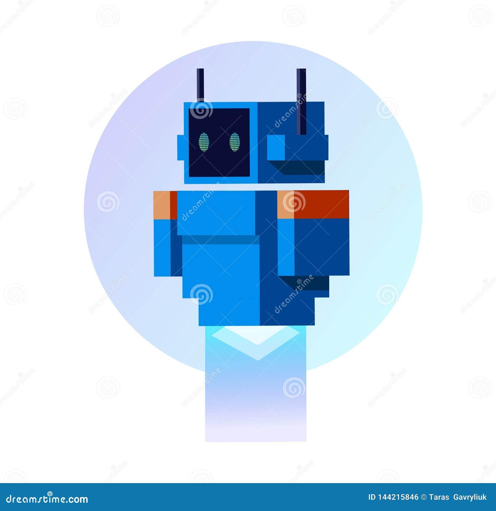 Błękitny robot w mieszkanie stylu