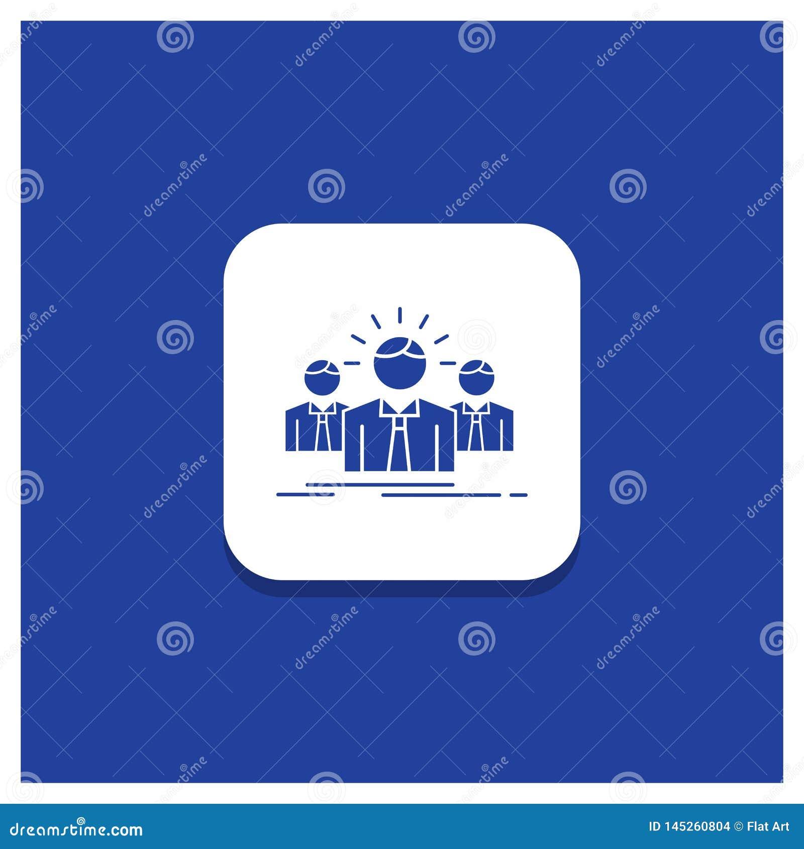 Błękitny Round guzik dla biznesu, kariera, pracownik, przedsiębiorca, lidera glifu ikona