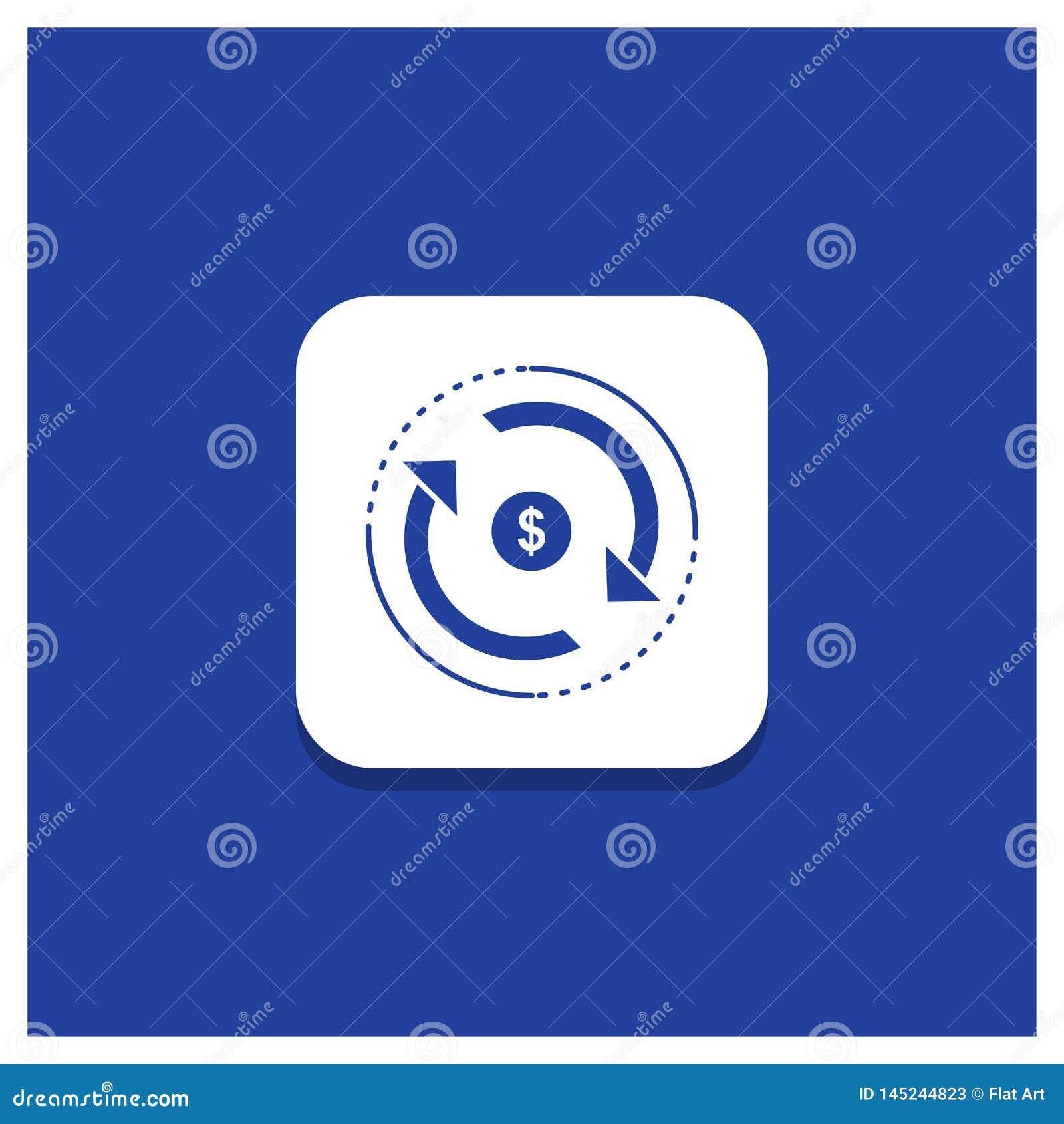 Błękitny Round guzik dla cyrkulacji, finanse, przepływ, rynek, pieniądze glifu ikona