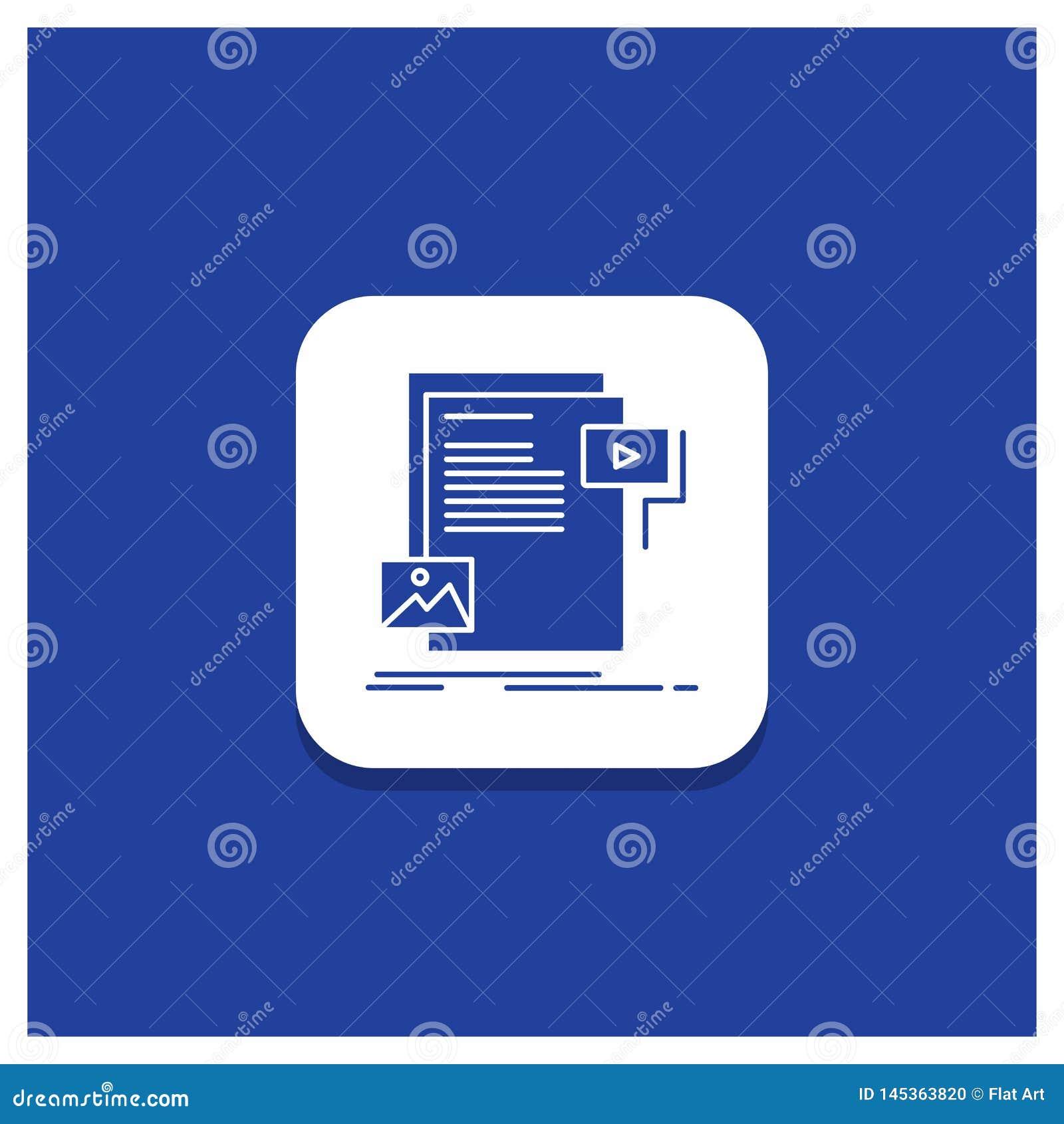 Błękitny Round guzik dla dane, dokument, kartoteka, środki, strona internetowa glifu ikona