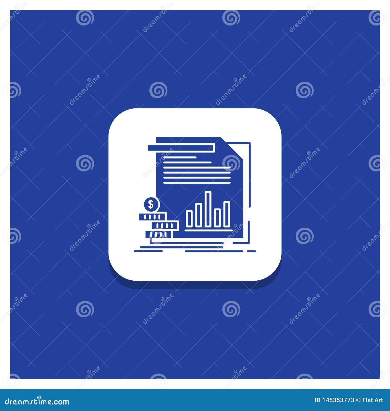 Błękitny Round guzik dla gospodarki, finanse, pieniądze, informacja, donosi glif ikonę