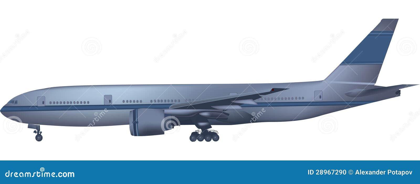 Błękitny samolot odizolowywający na bielu
