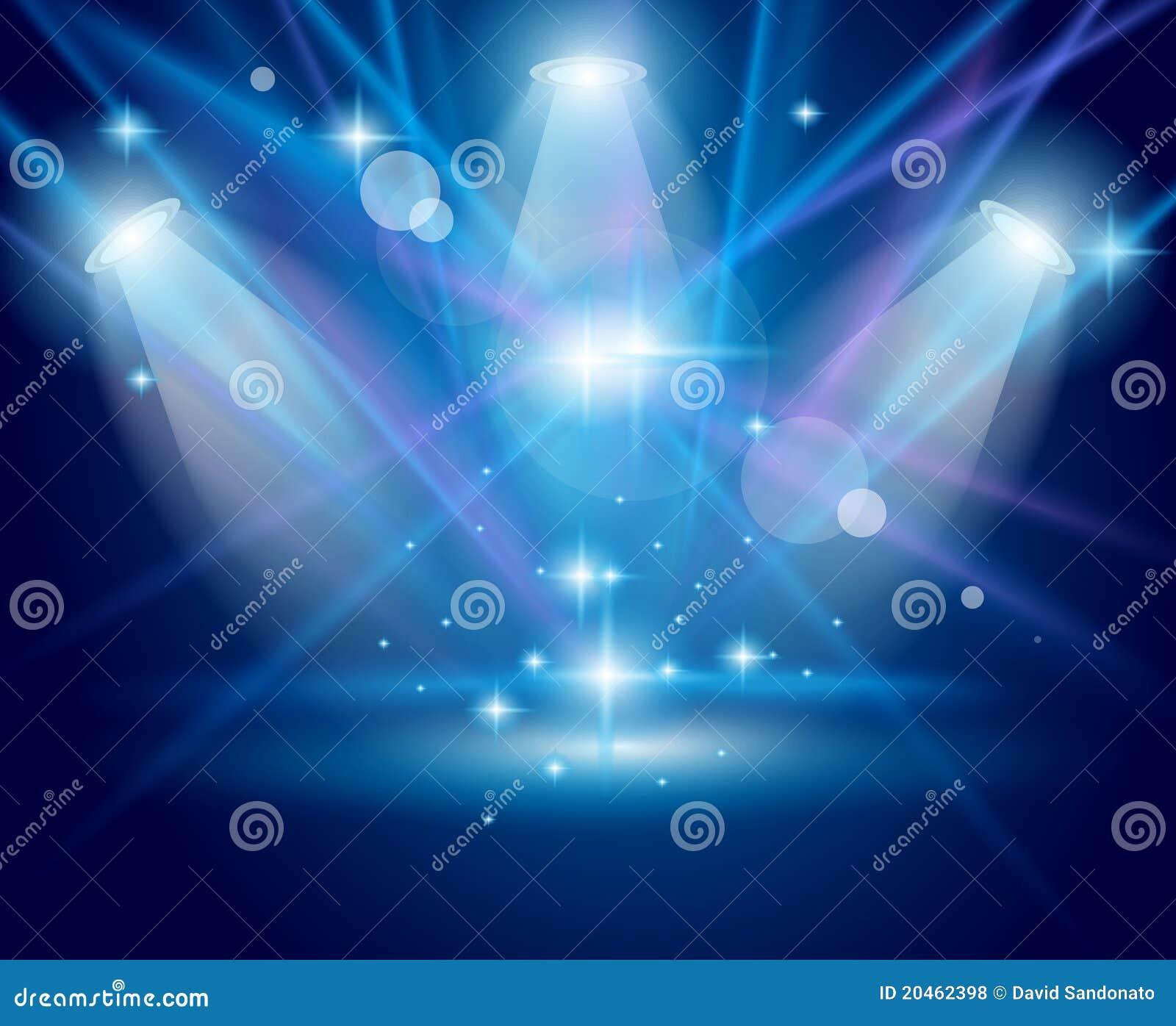 Błękitny skutka rozjarzeni magiczni promieni światło reflektorów