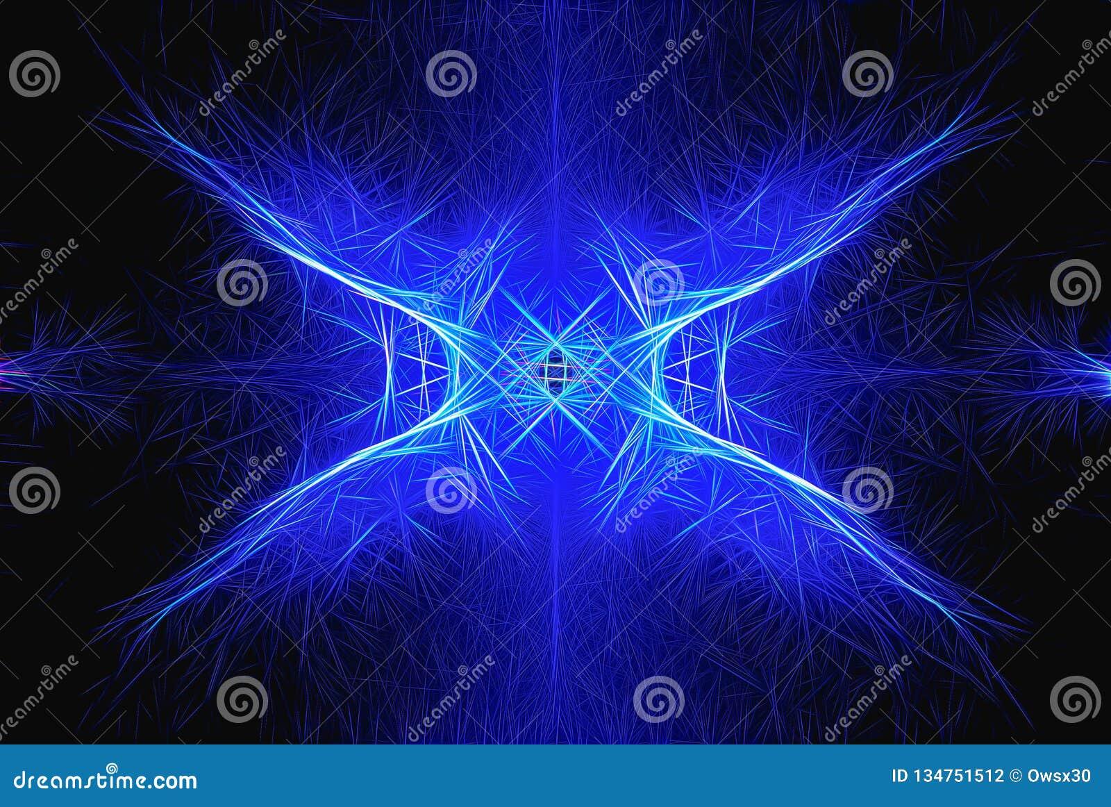 Błękitny symetryczny abstrakta wzór na ciemnym tle