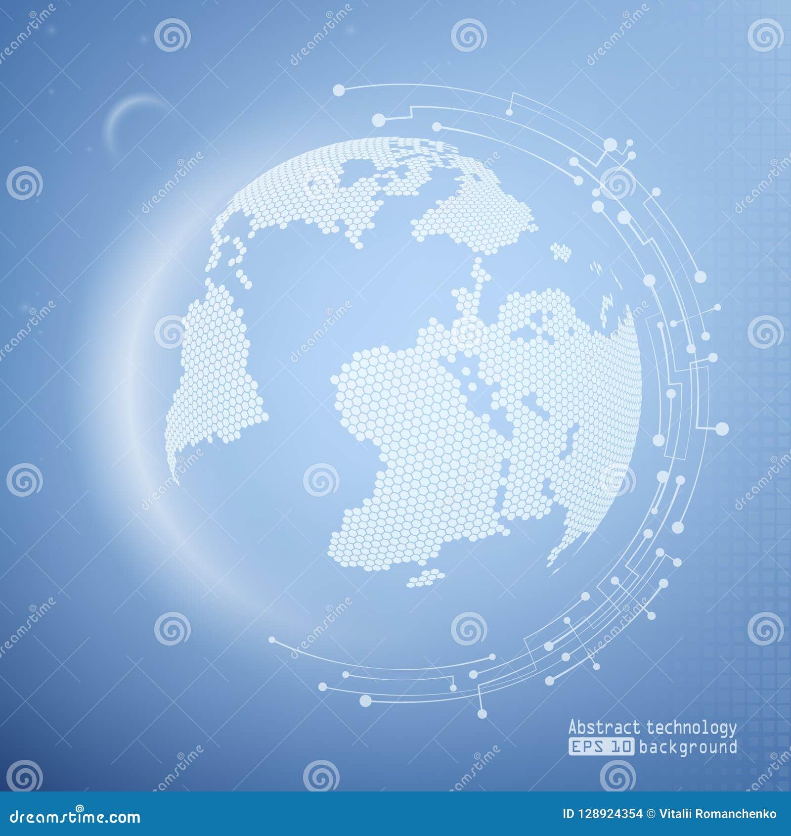 Błękitny technologii tło z planetą Sieć internet i technologia Wireframe siatki poligonalny element wektor