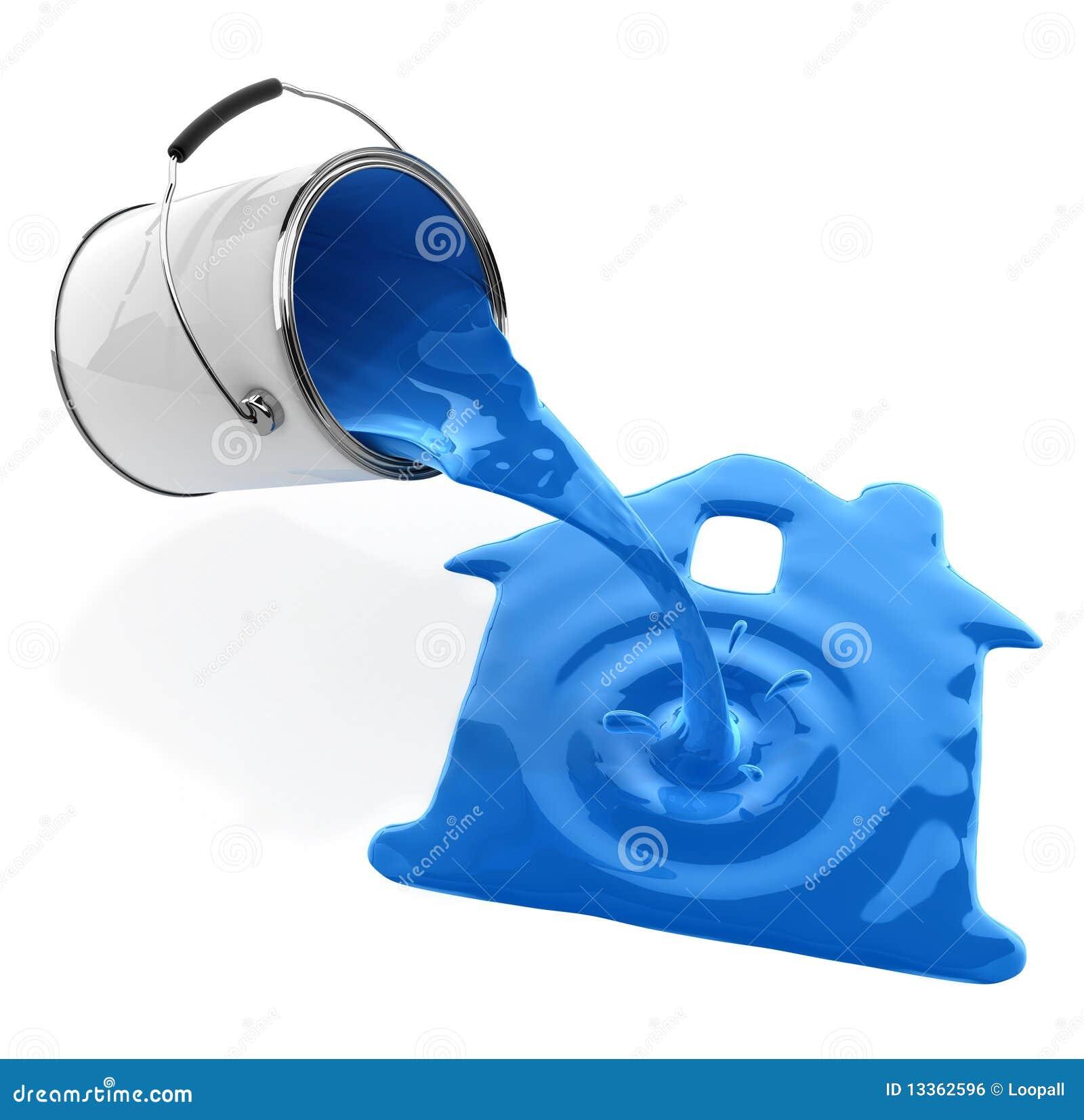 Błękitny wiadra domowej farby dolewania sylwetka