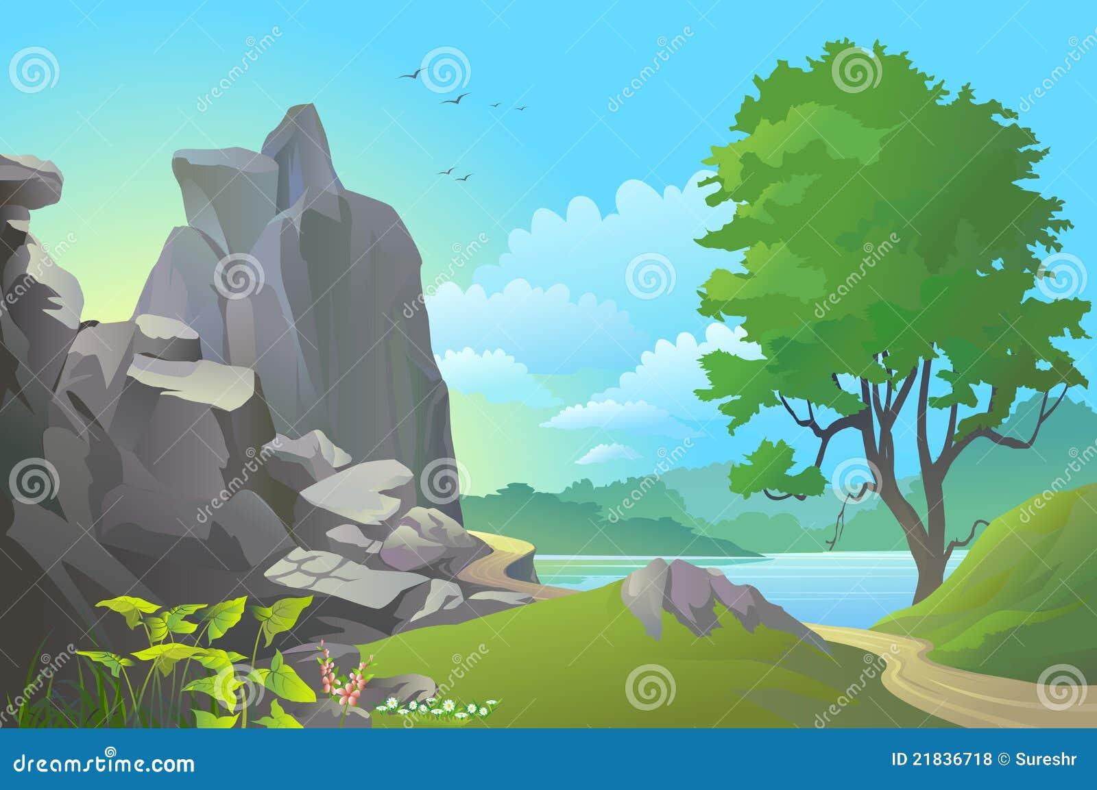 Błękitny wzgórzy rzeczny skalisty niebo szeroki