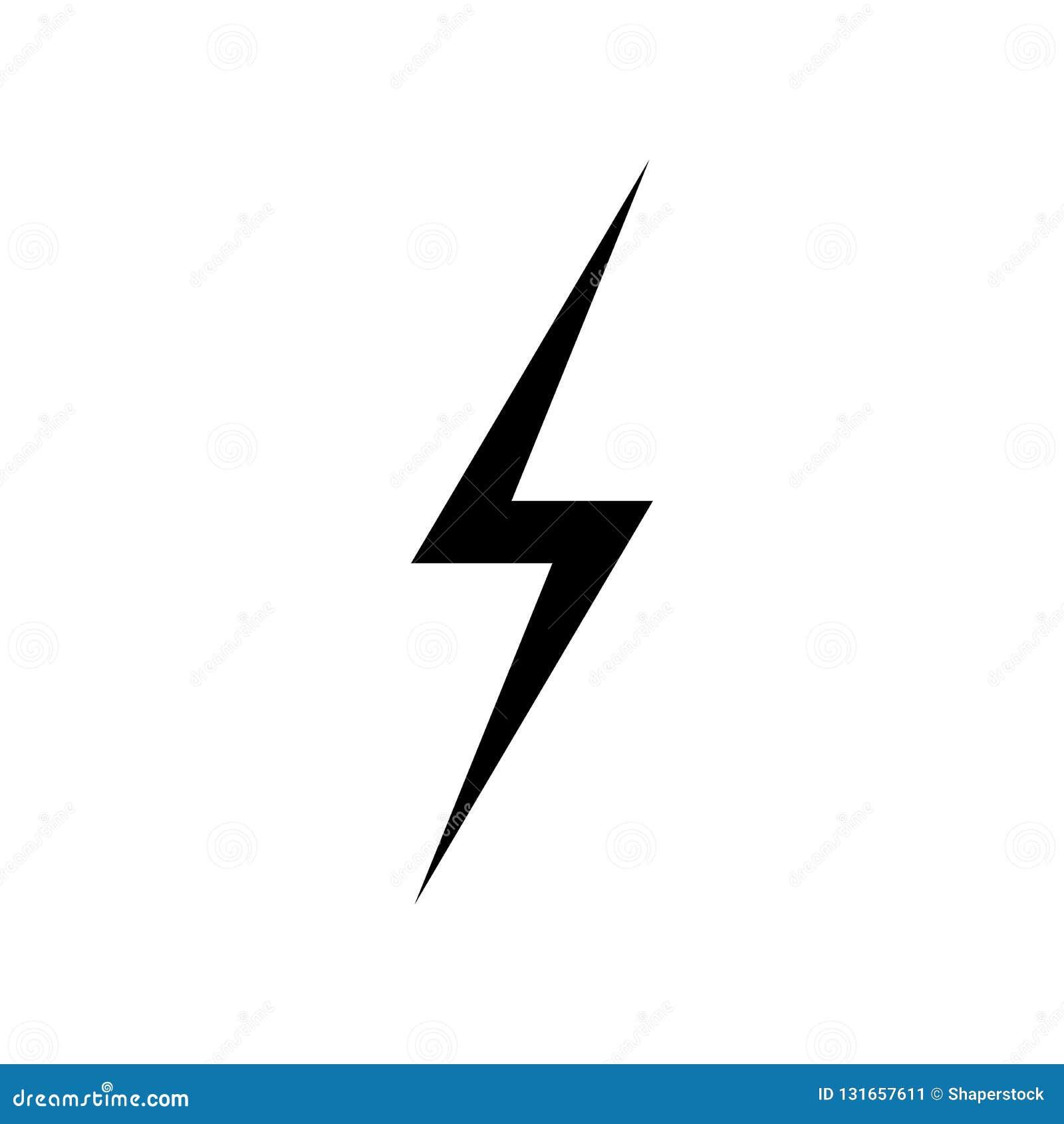 Błyskawicowy ikona wektor Prosty płaski symbol Perfect Czarna piktogram ilustracja na białym tle