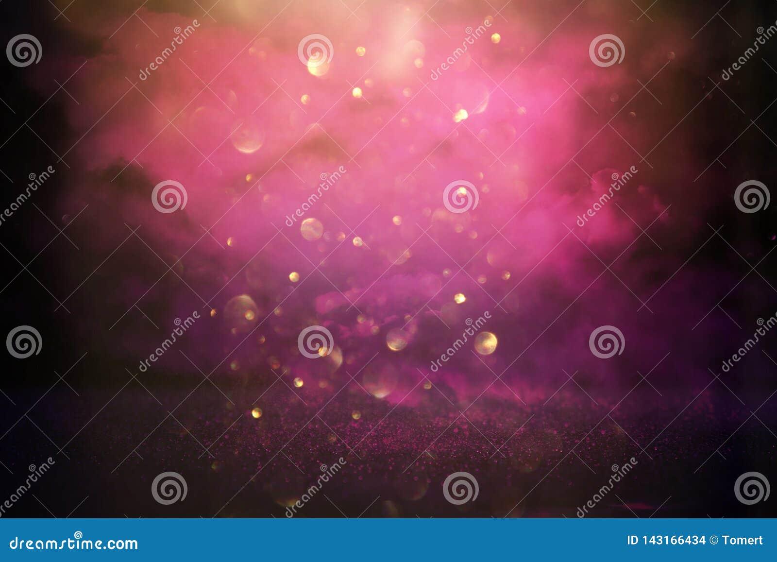 Błyskotliwość rocznik zaświeca tło menchie, czerń, purpury i złoto, skupiający się