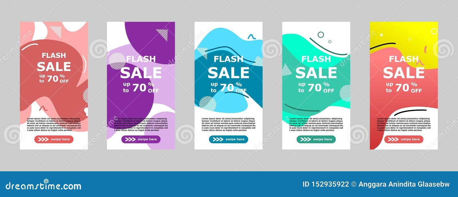 Błyskowego sprzedaż sztandaru mobilny app i instagram