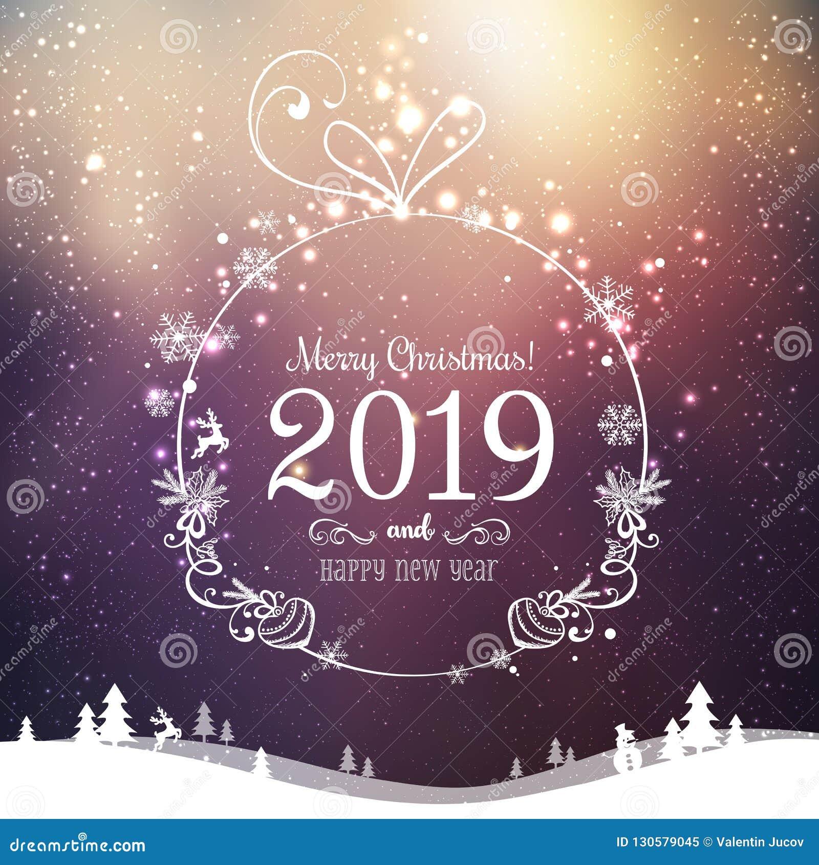 Błyszcząca Xmas piłka dla Wesoło bożych narodzeń 2019 i nowego roku na wakacje tle z zima krajobrazem z płatek śniegu, światło, g