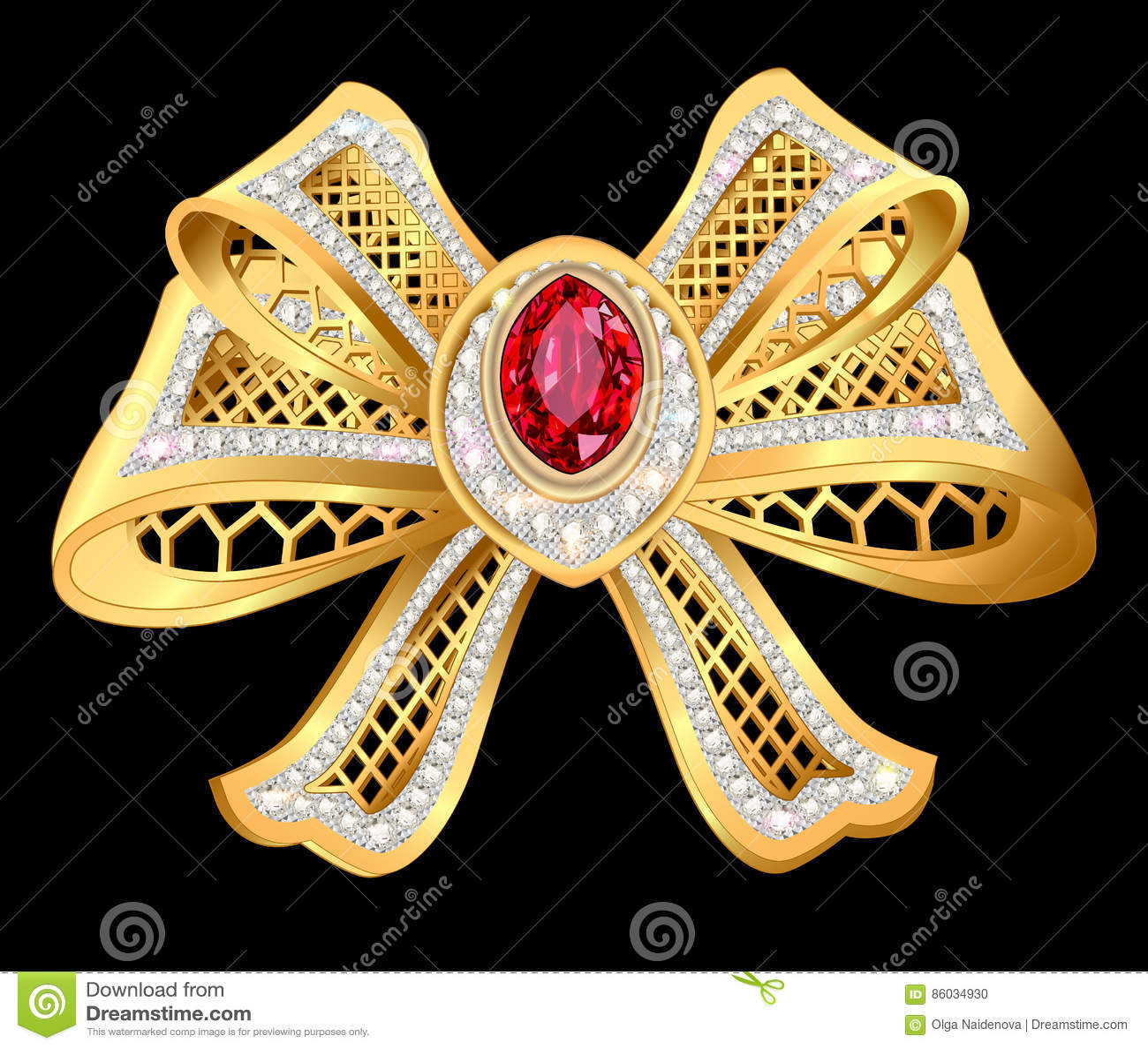 Błyszcząca złocista łęk broszka z siatką i klejnotami
