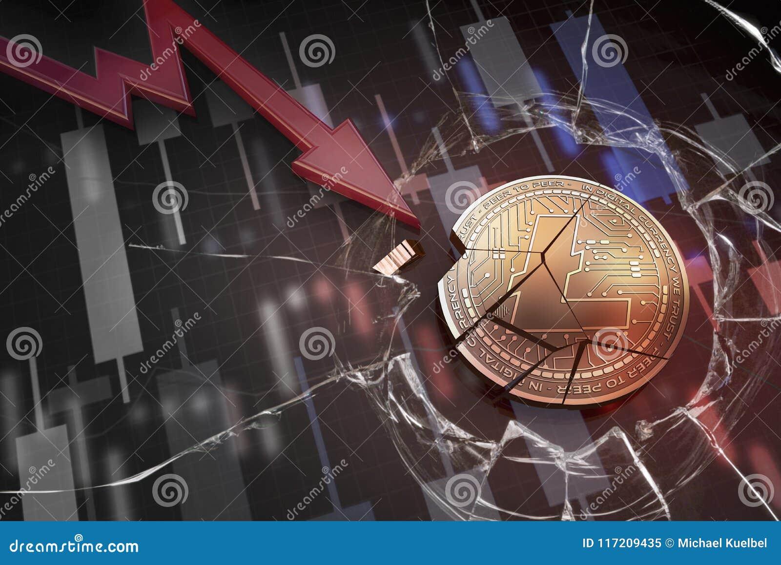 Błyszcząca złota LITECOIN cryptocurrency moneta łamająca na negatywnego mapa trzaska baisse niedoboru 3d spada przegranym renderi