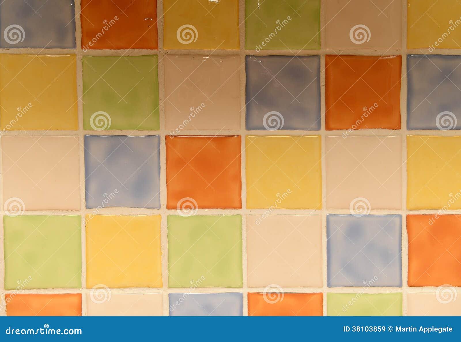 Błyszczące Ceramiczne Kwadratowe Kuchni Płytki Obraz Stock