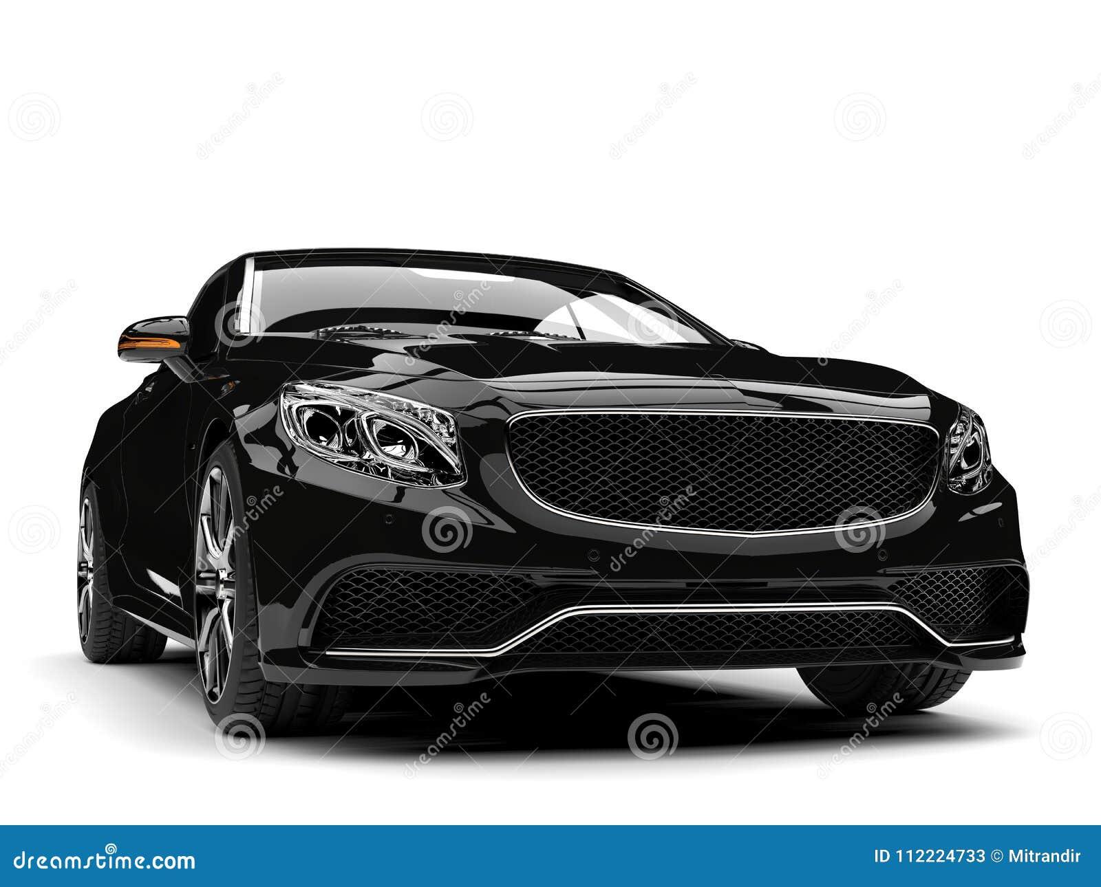 Błyszczący czarny nowożytny luksusowy odwracalny samochód - frontowego widoku zbliżenia strzał