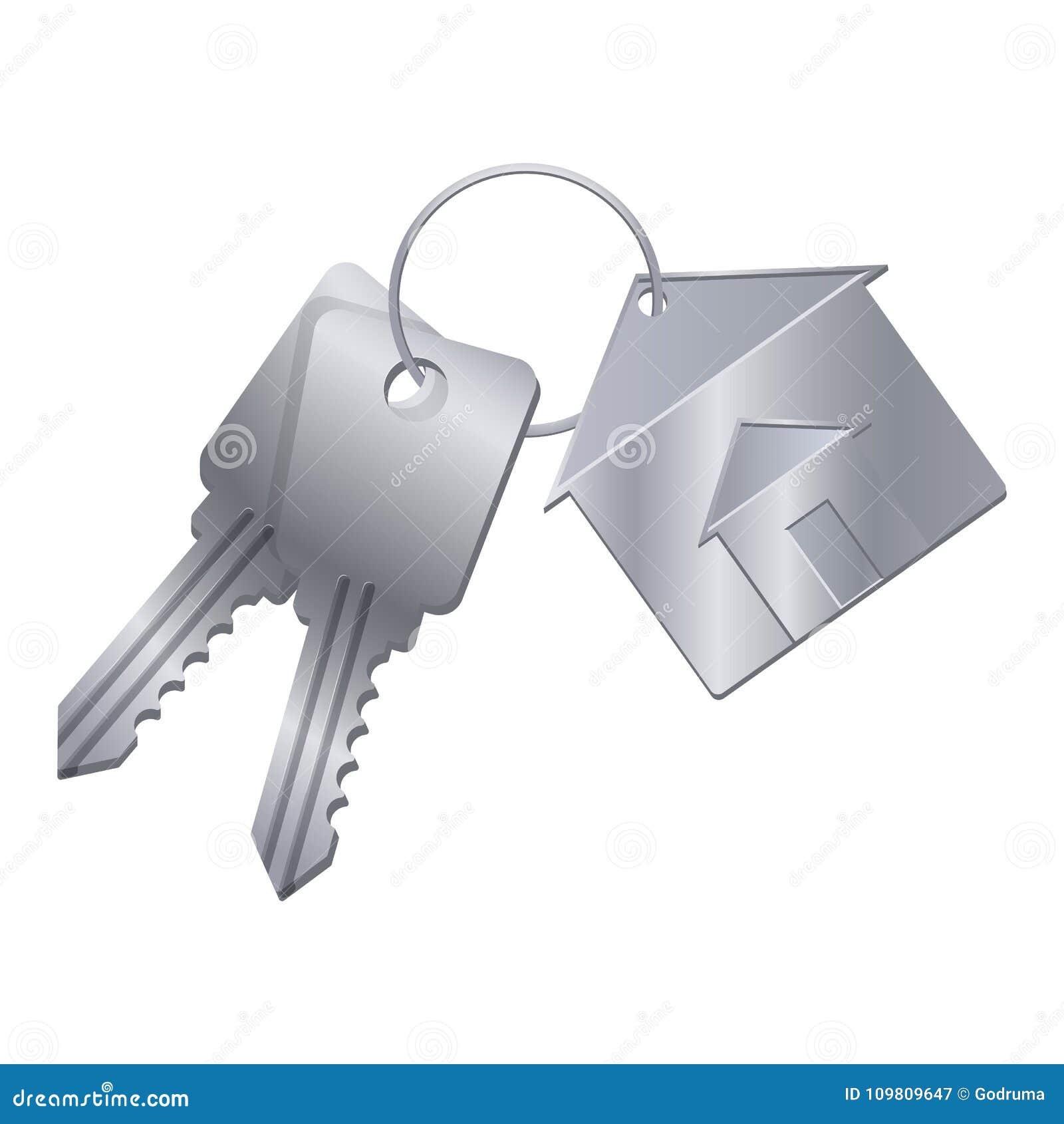 Błyszczący metali klucze z srebną błyskotką od wymarzonego domu