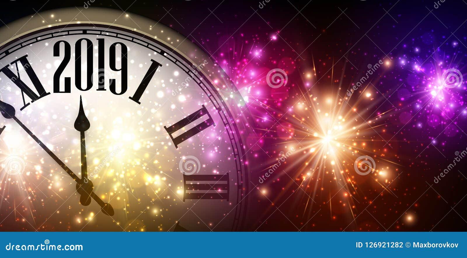 Błyszczący 2019 nowy rok tło z zegarem i fajerwerkami