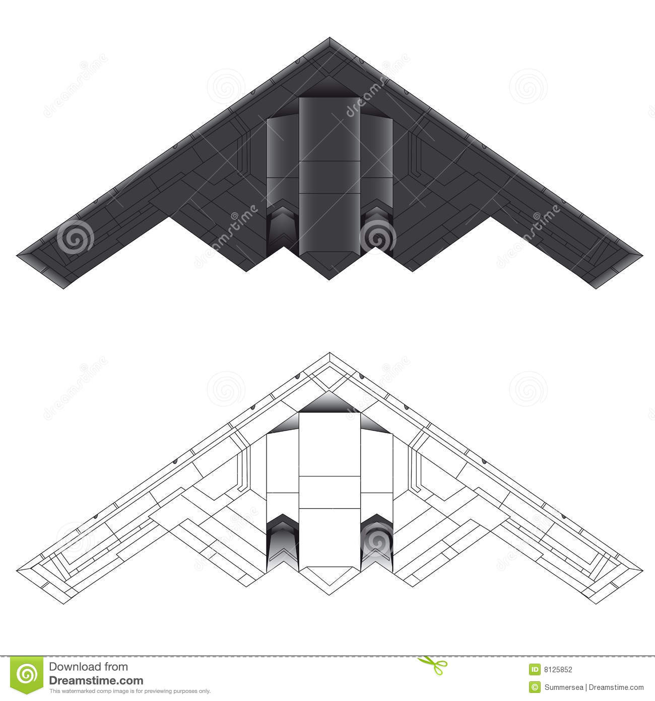 B-2 stealth bomber bottom view vector illustration in colour and outline