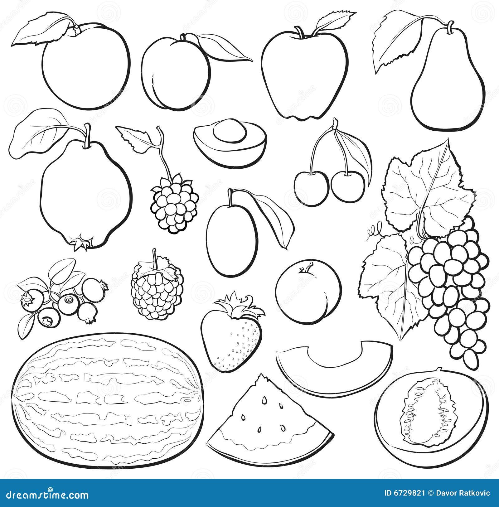 B&w determinado de la fruta