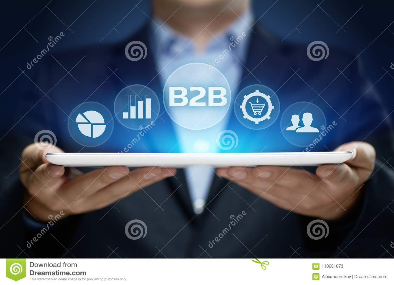 B2B Biznes Firma handlu technologii Marketingowy pojęcie