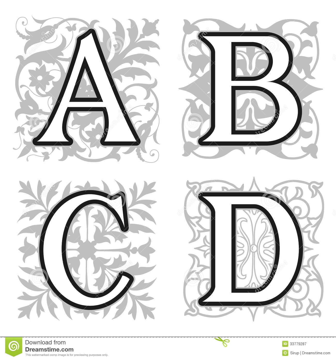 A B C D Alphabet Letters With Floral Elements Stock Vector
