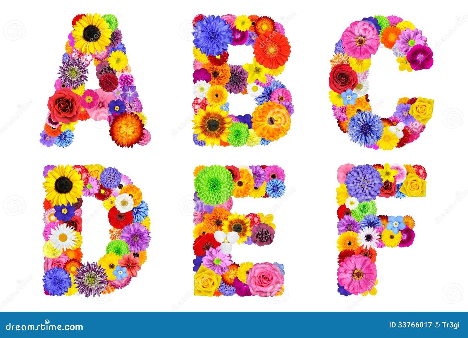 ��.d:-a:+�_六封信件a, b, c, d, e, f由许多五颜六色和原始的花制成.