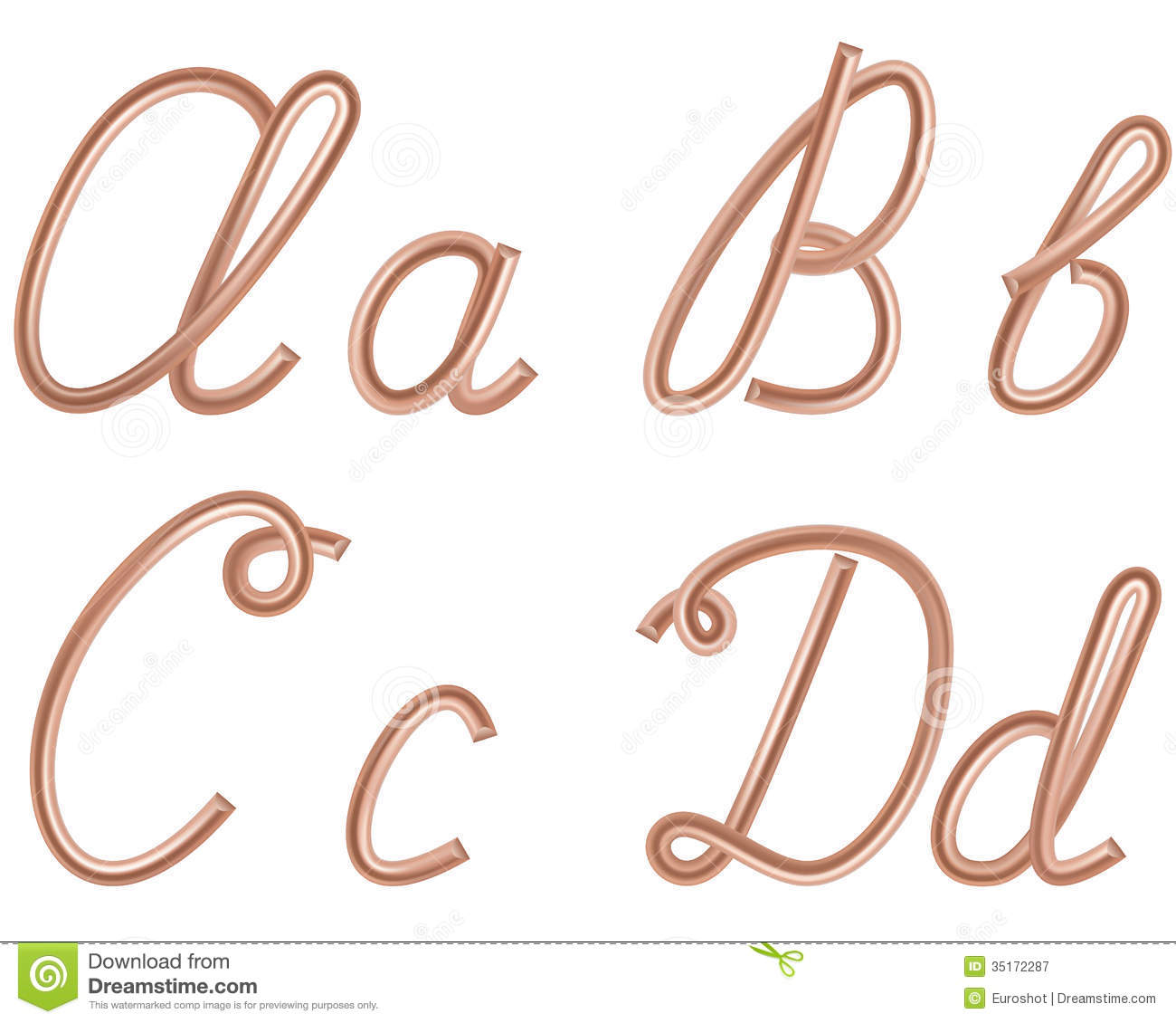 a  b  c  d vector letters made of metal copper wire  stock vector