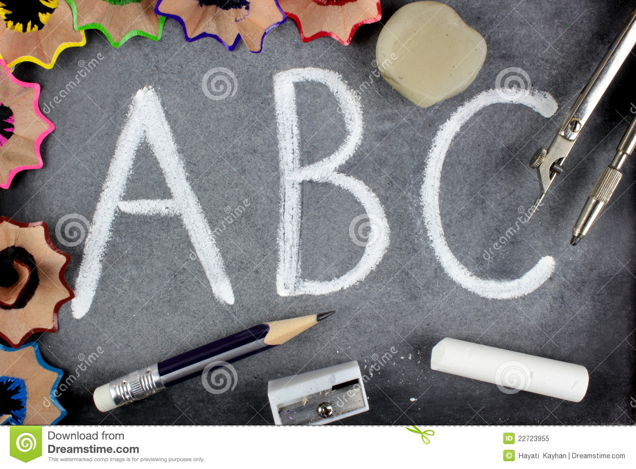 A B C Letters And School Stuff On Blackboard Royalty Free