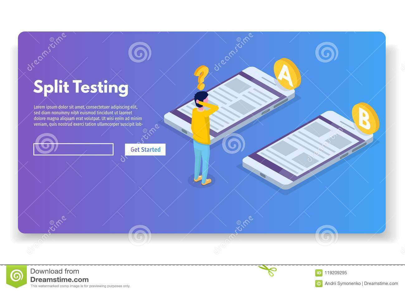 A-B comparison. Split testing isometric concept.
