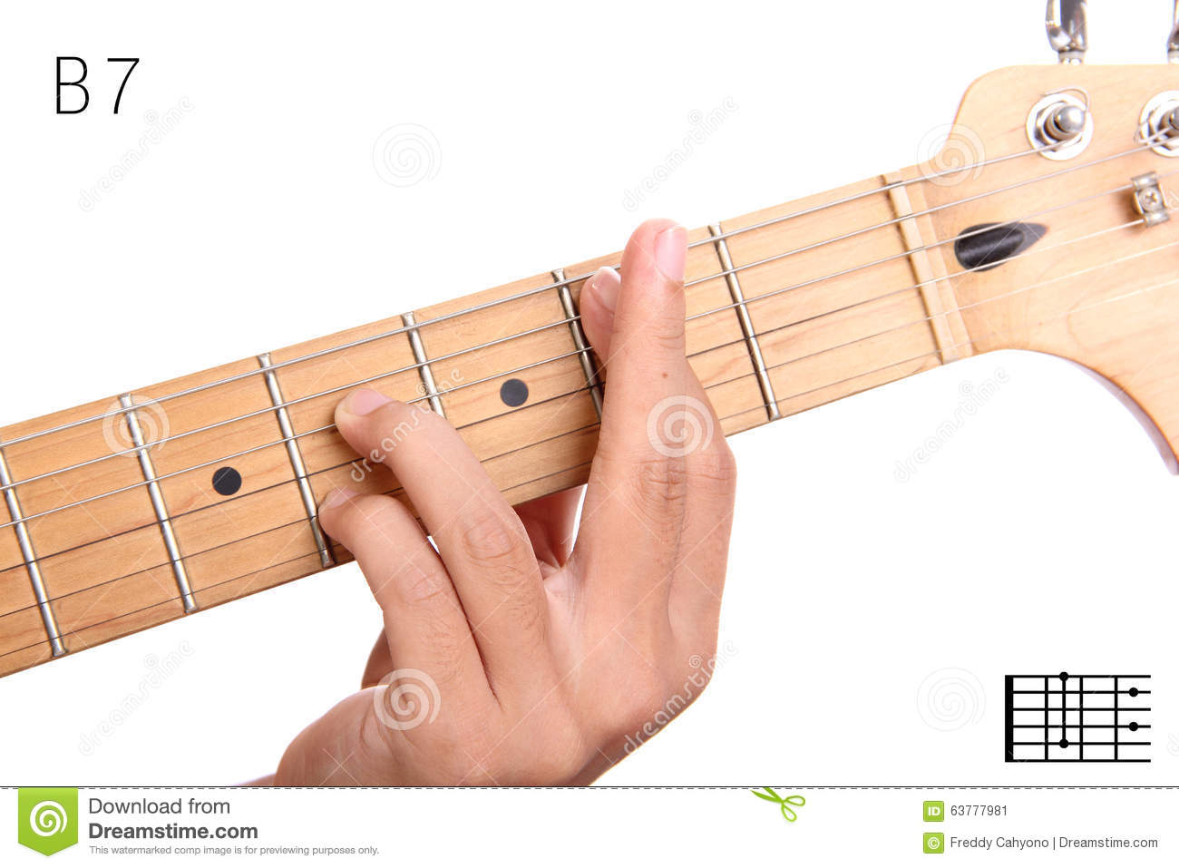 B Dominant Seventh Guitar Chord Tutorial Stock Image Image Of
