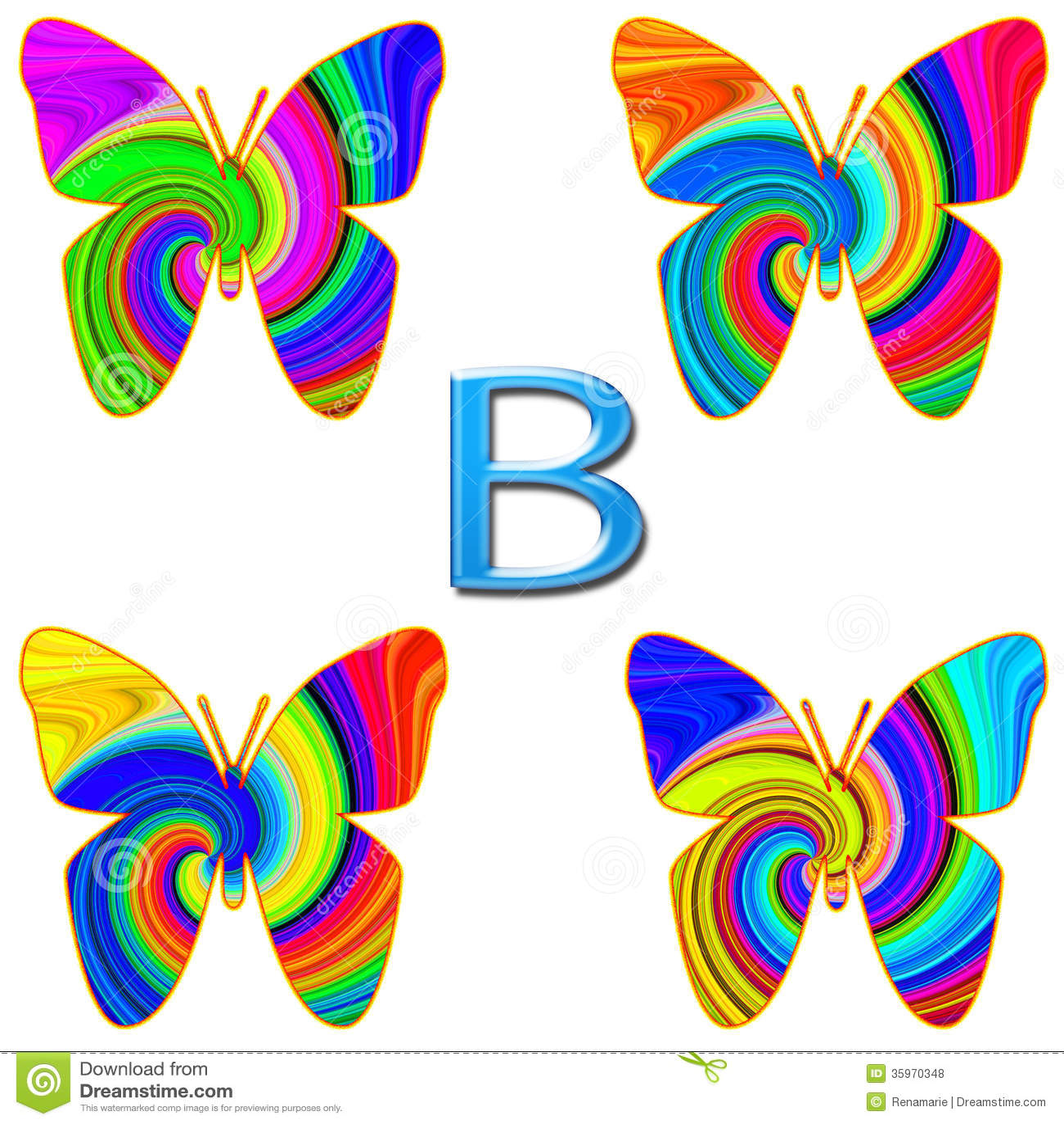 B está para la mariposa