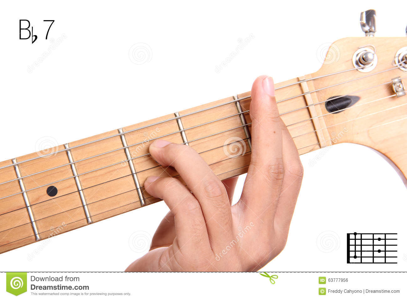 B Flat Dominant Seventh Guitar Chord Tutorial Stock Photo Image Of